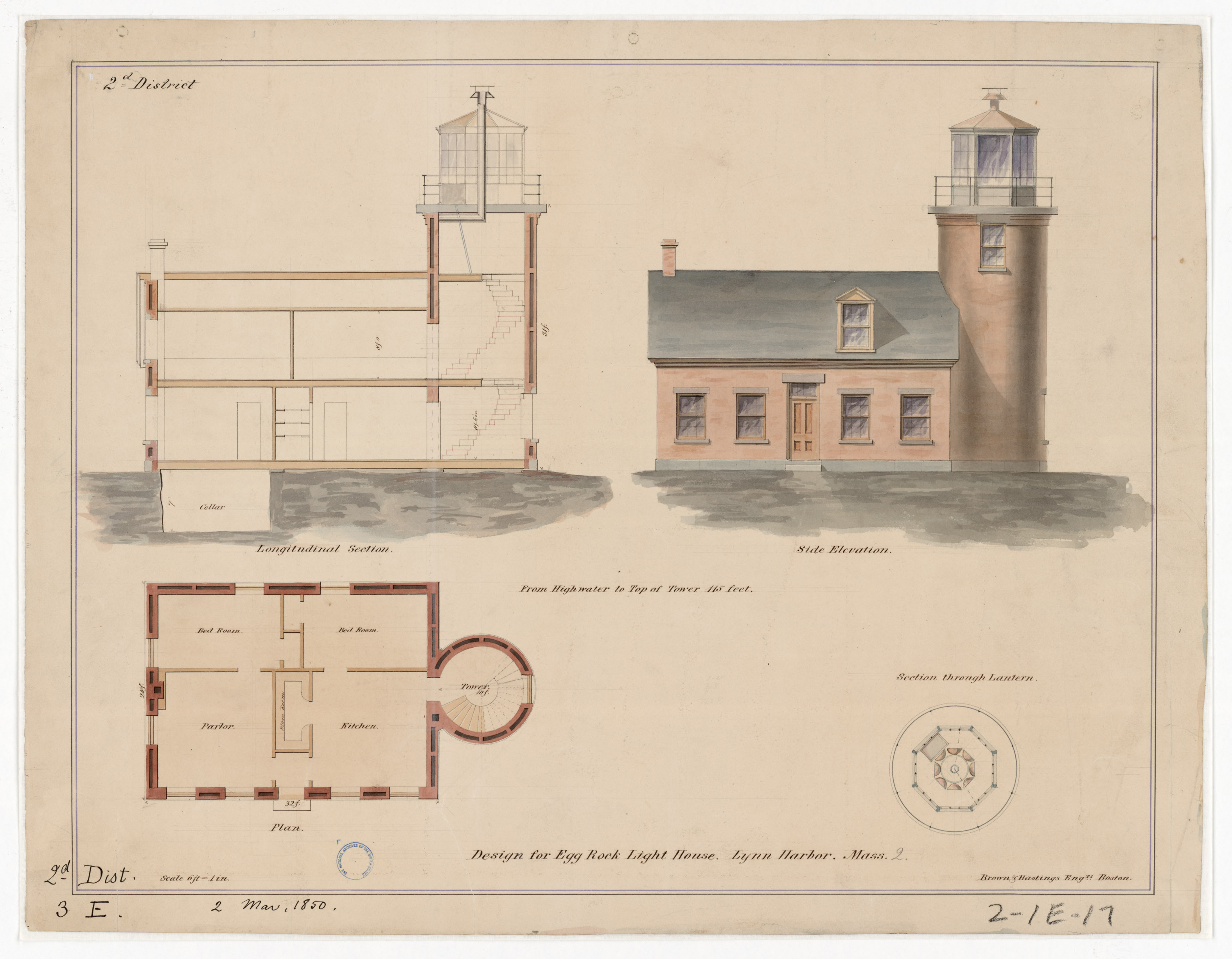 Section, Elevation and Plan Drawing for the Lighthouse at Egg Rock, Massachusetts