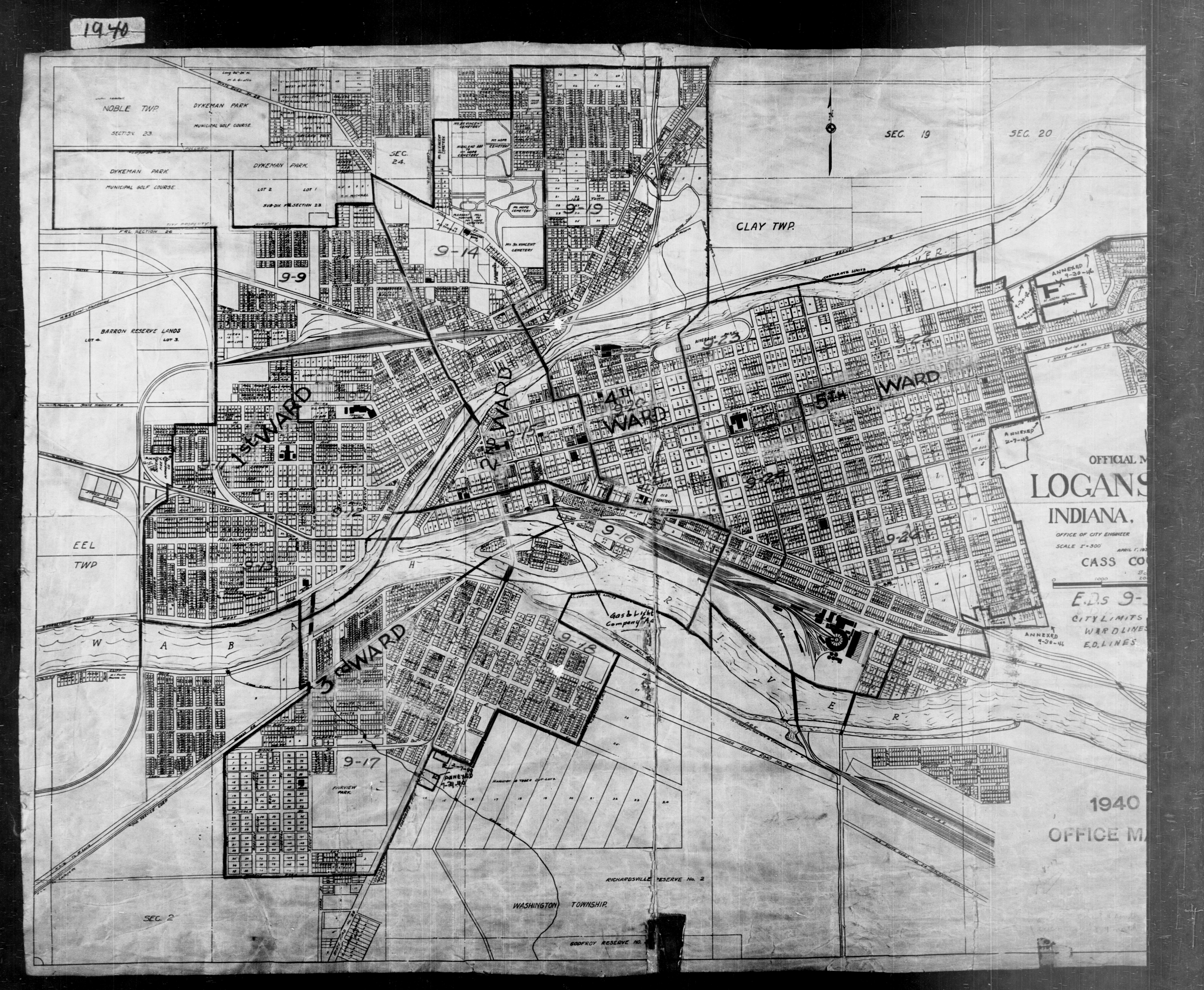 1940 Census Enumeration District Maps - Indiana - Cass County - Logansport - ED 9-9 - ED 9-26