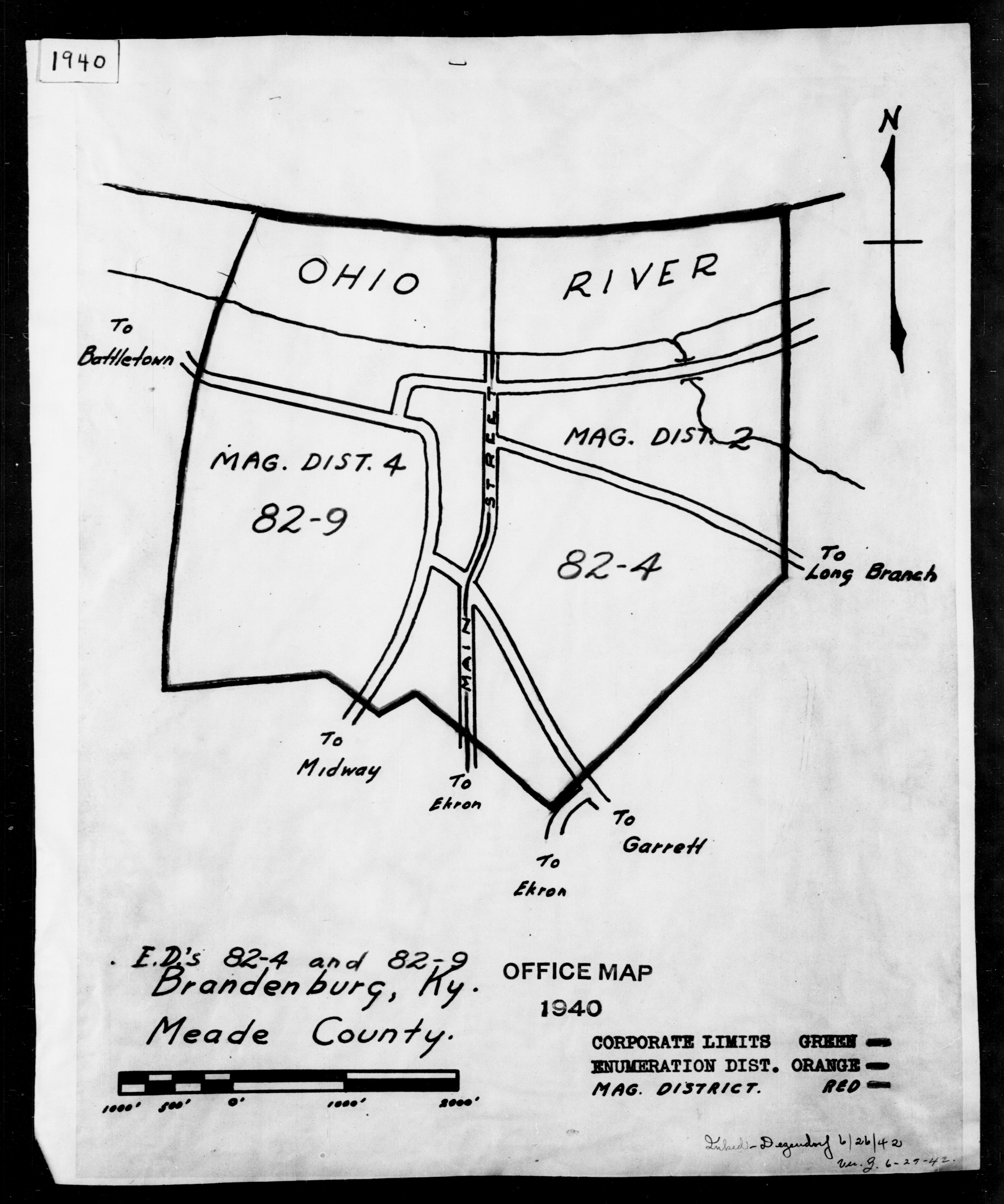 1940 Census Enumeration District Maps - Kentucky - Meade County - Brandenburg - ED 82-4, ED 82-9