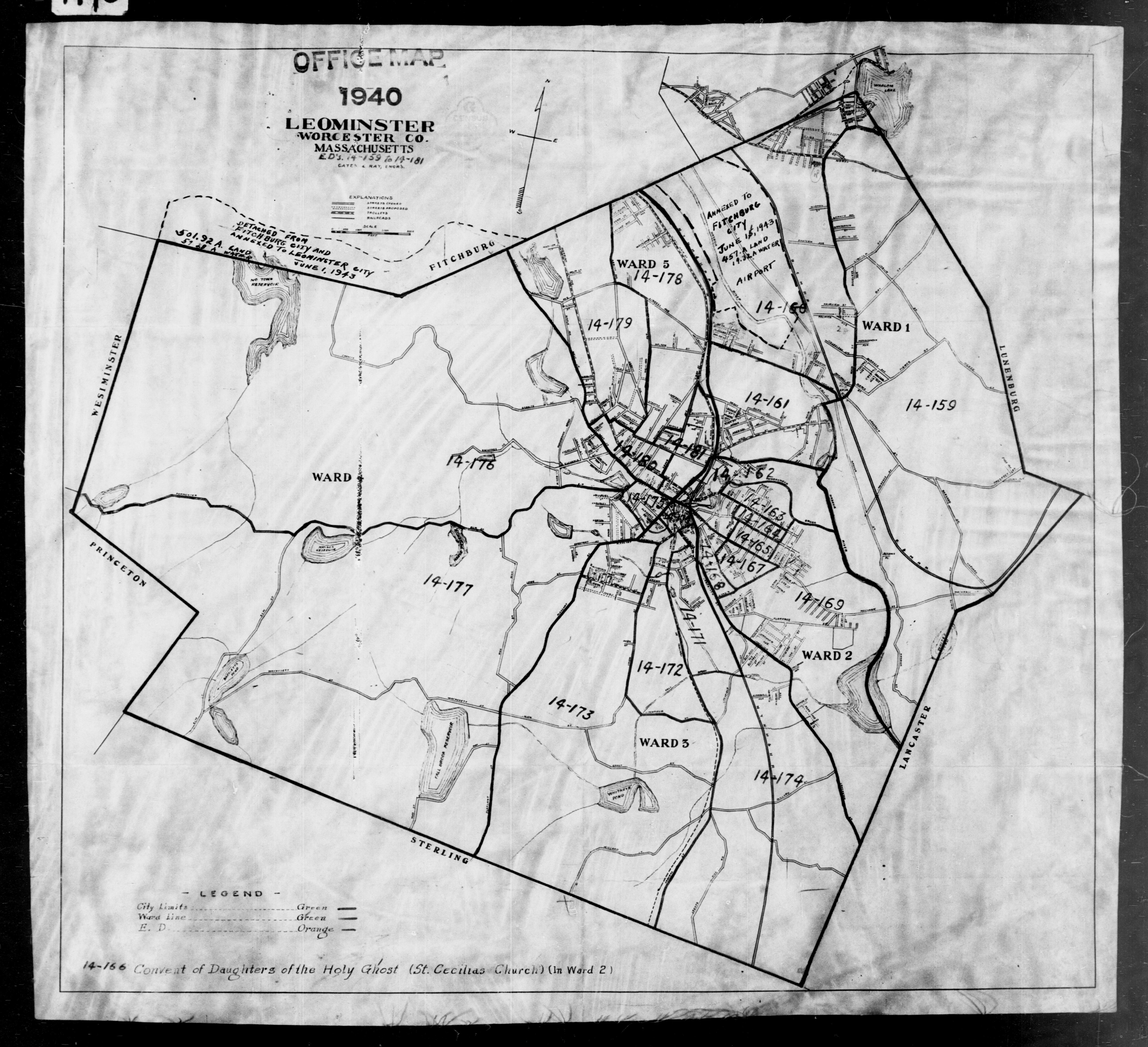 1940 Census Enumeration District Maps - Massachusetts - Worcester County - Leominster - ED 14-159 - ED 14-181
