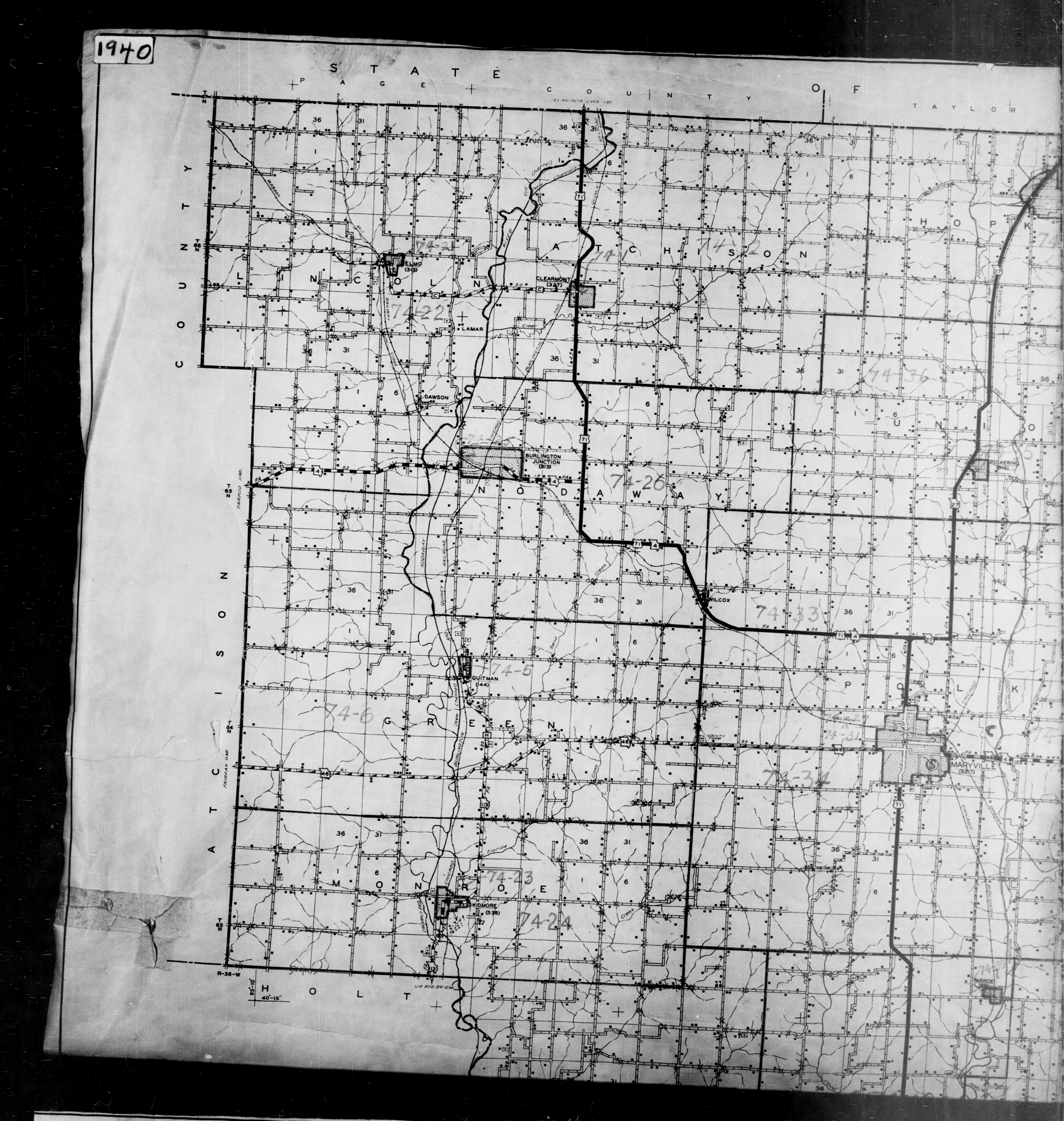 1940 Census Enumeration District Maps - Missouri - Nodaway County - ED 74-1 - ED 74-40