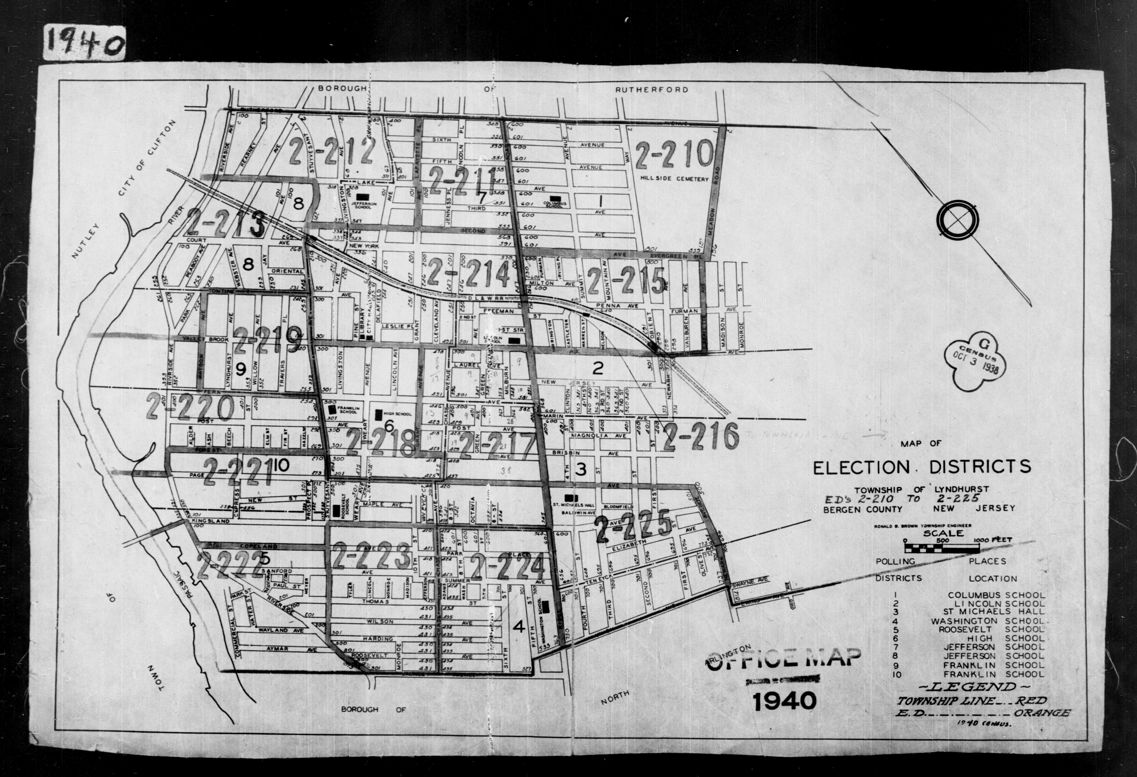 1940 Census Enumeration District Maps - New Jersey - Bergen County - Lyndhurst - ED 2-210 - ED 2-225