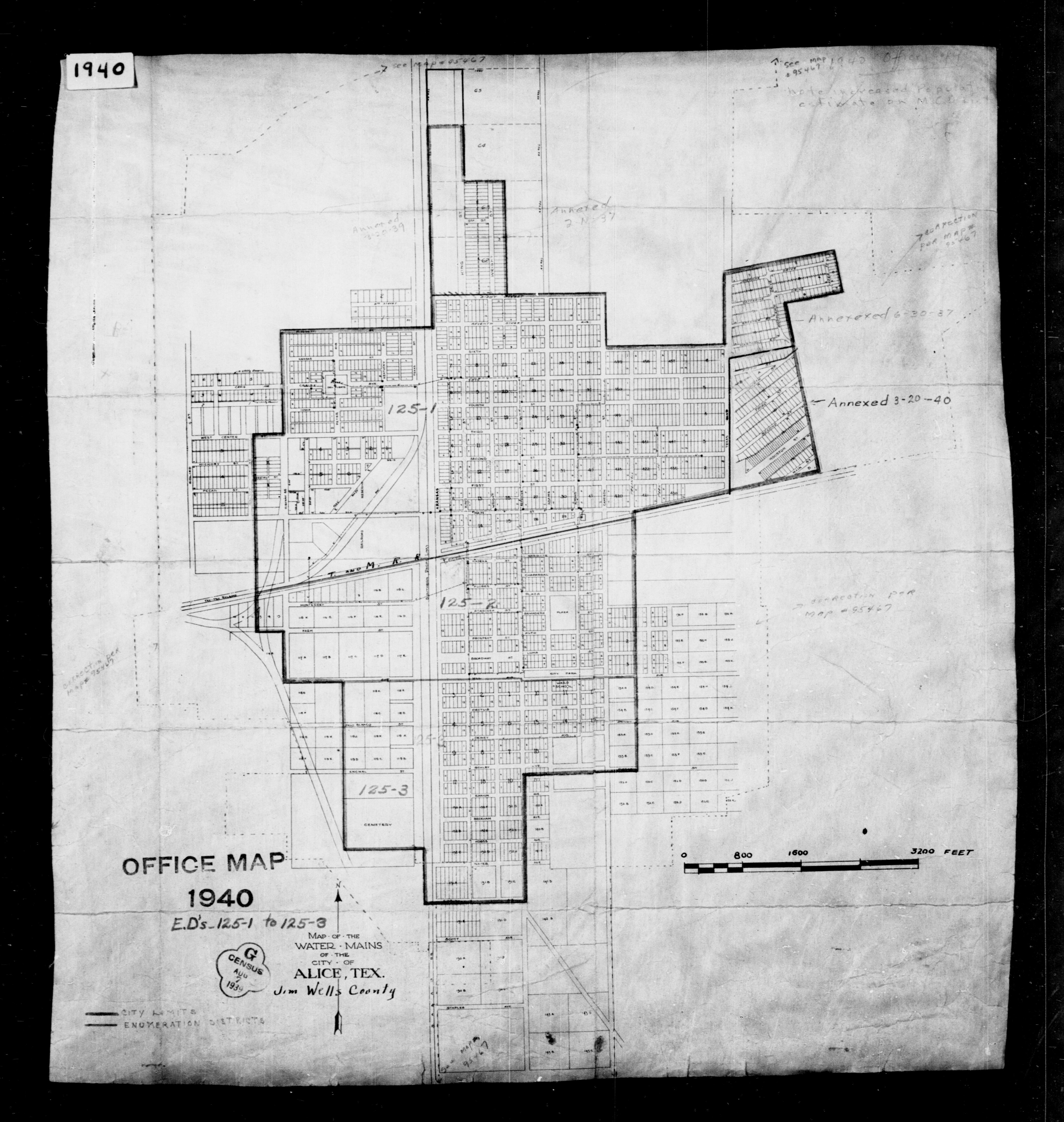 1940 Census Enumeration District Maps - Texas - Jim Wells County - Alice - ED 125-1A, ED 125-1B, ED 125-1C, ED 125-2, ED 125-3