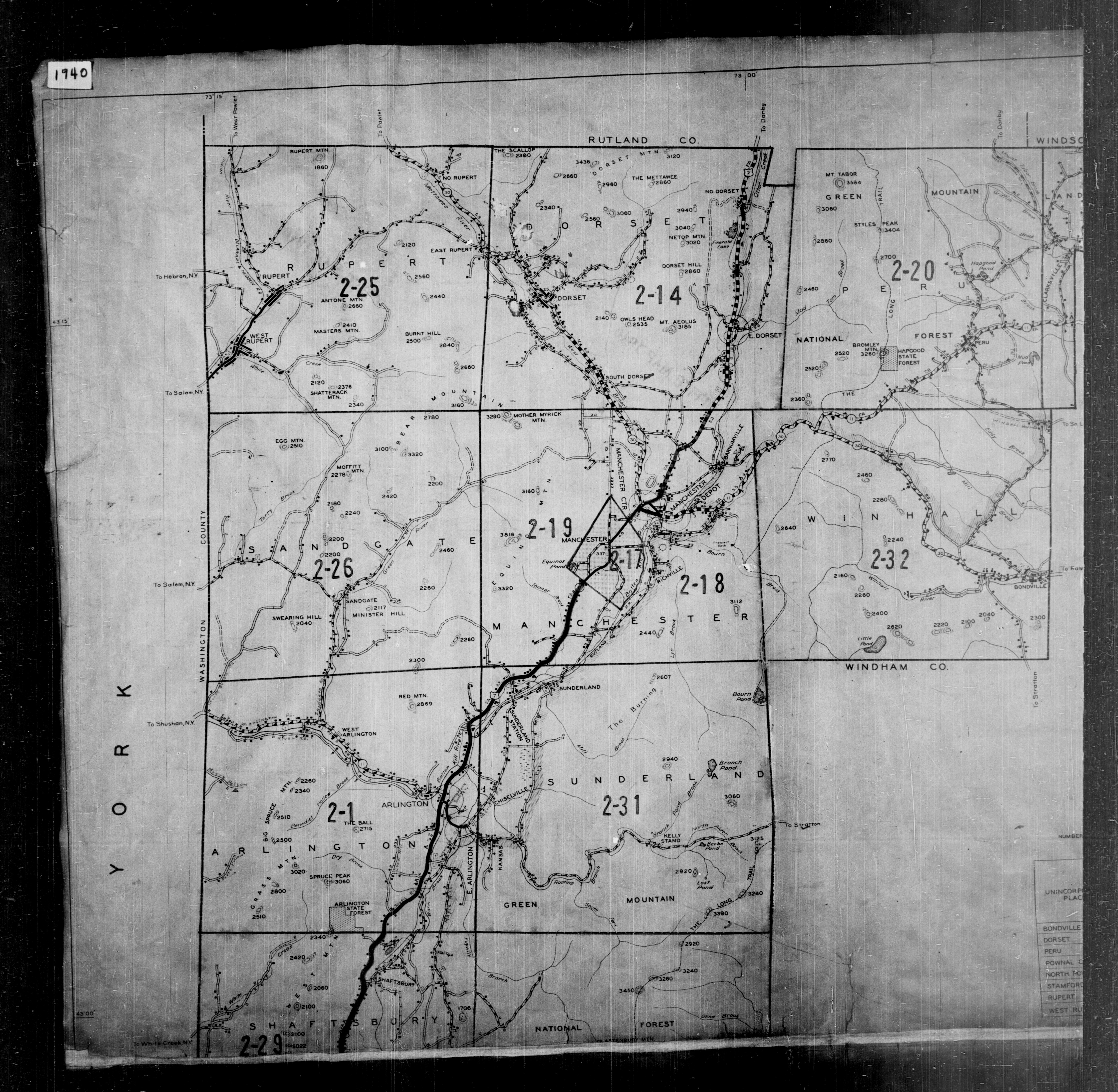 1940 Census Enumeration District Maps - Vermont - Bennington County - ED 2-1 - ED 2-33
