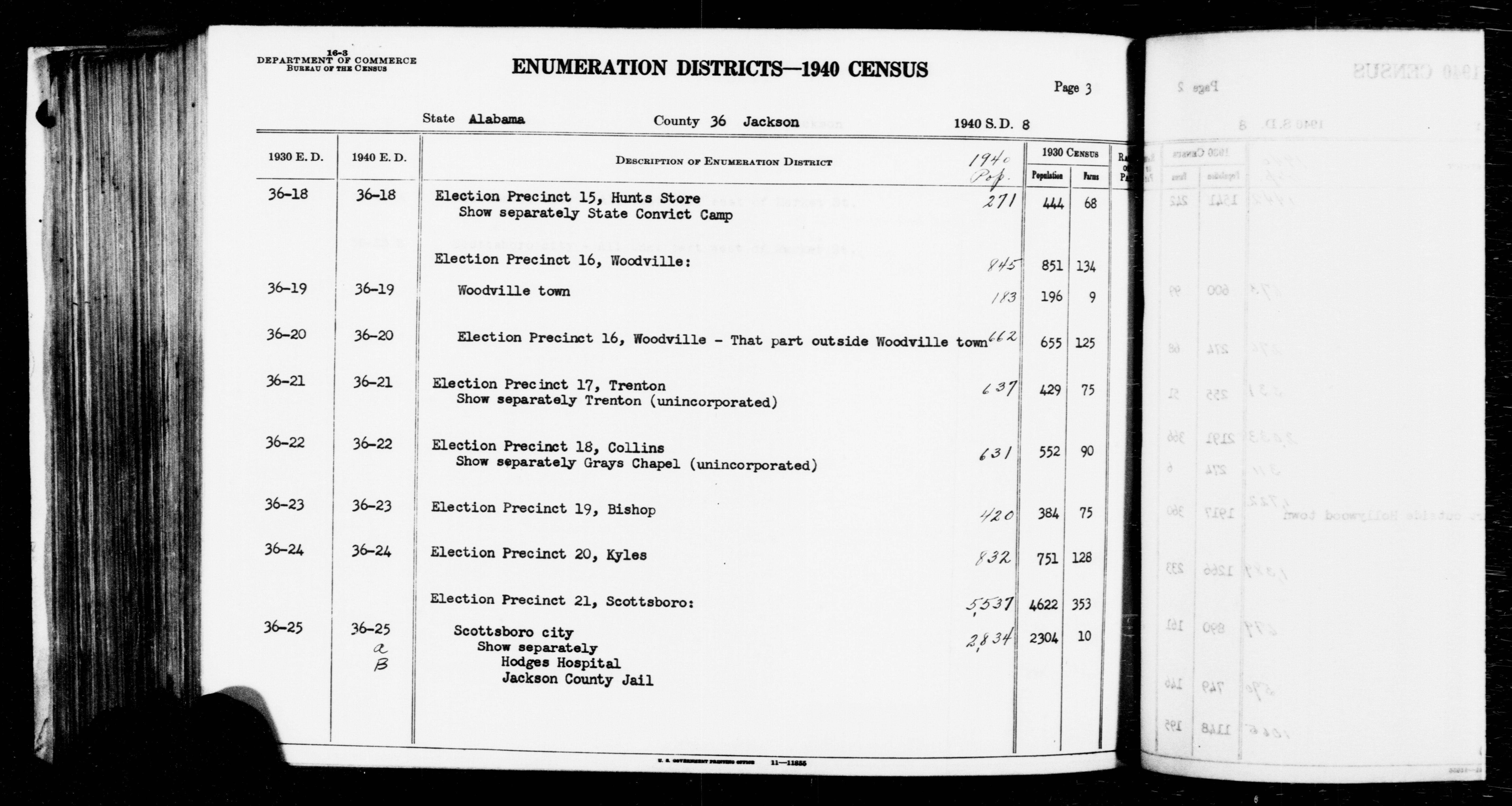 1940 Census Enumeration District Descriptions - Alabama - Jackson County - ED 36-18, ED 36-19, ED 36-20, ED 36-21, ED 36-22, ED 36-23, ED 36-24, ED 36-25A, ED 36-25B