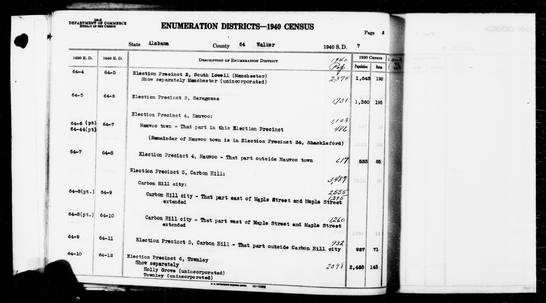 1940 Census Enumeration District Descriptions - Alabama - Walker County - ED 64-5, ED 64-6, ED 64-7, ED 64-8, ED 64-9, ED 64-10, ED 64-11, ED 64-12