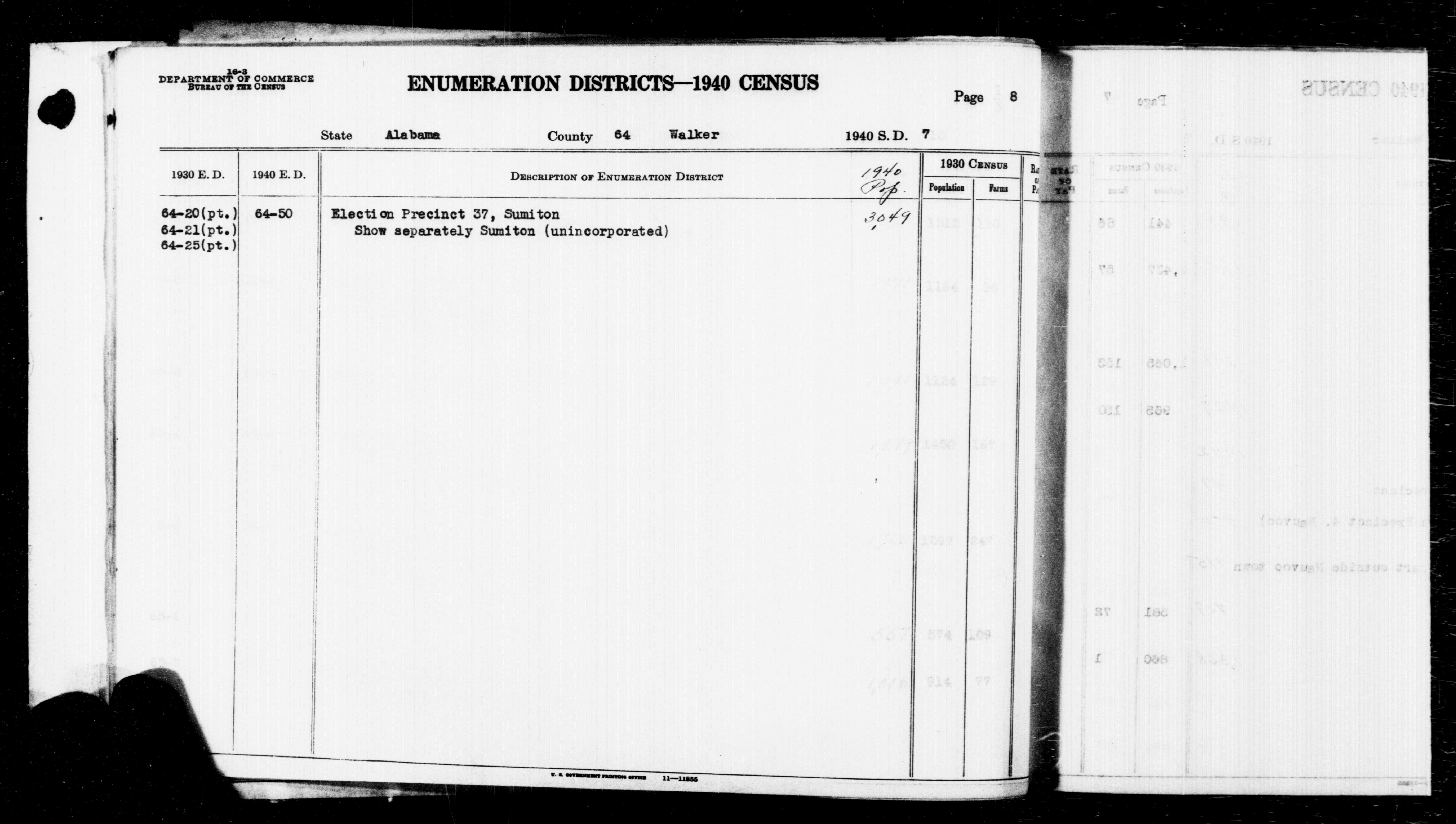 1940 Census Enumeration District Descriptions - Alabama - Walker County - ED 64-50
