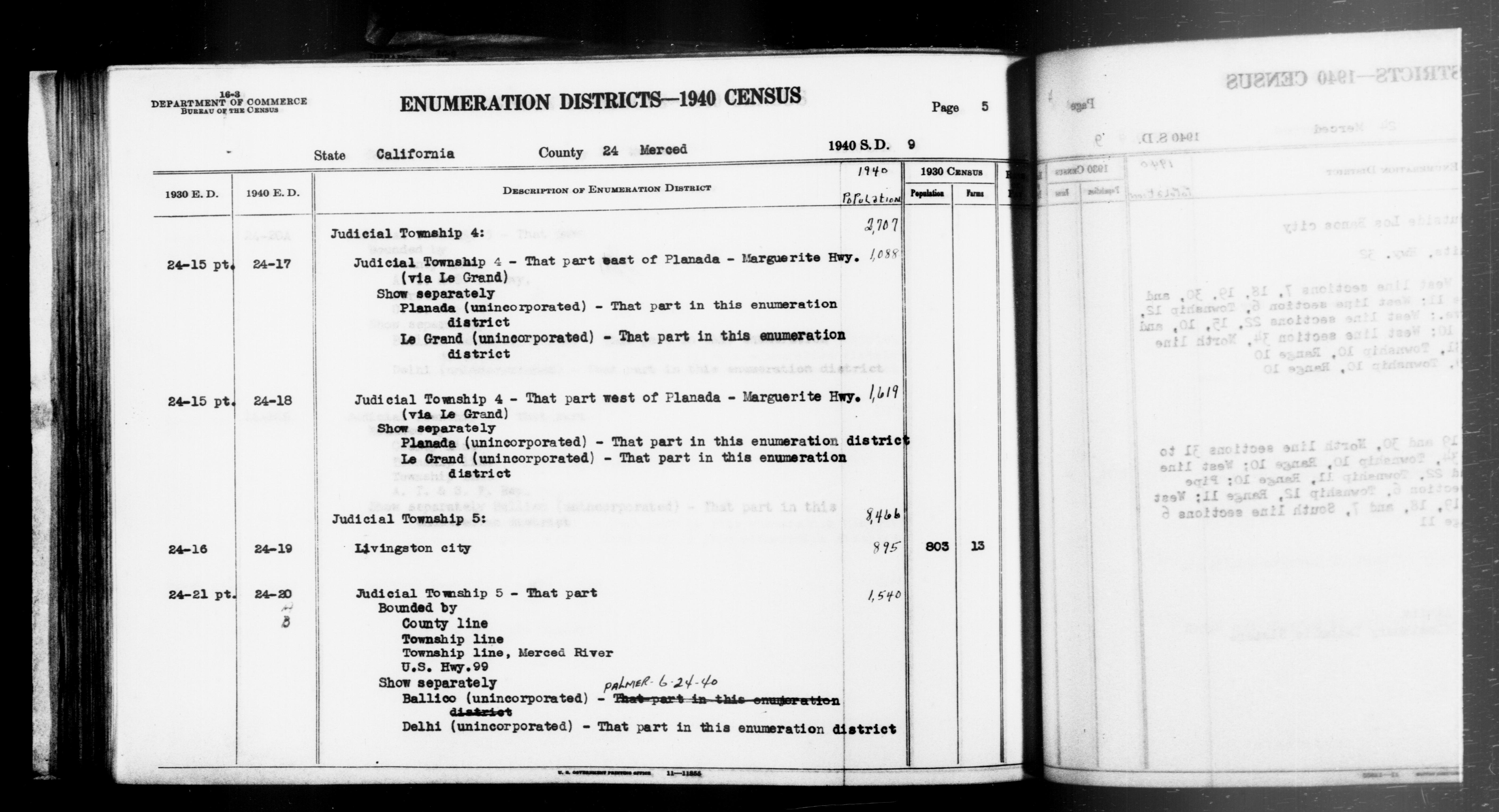 1940 Census Enumeration District Descriptions - California - Merced County - ED 24-17, ED 24-18, ED 24-19, ED 24-20A, ED 24-20B