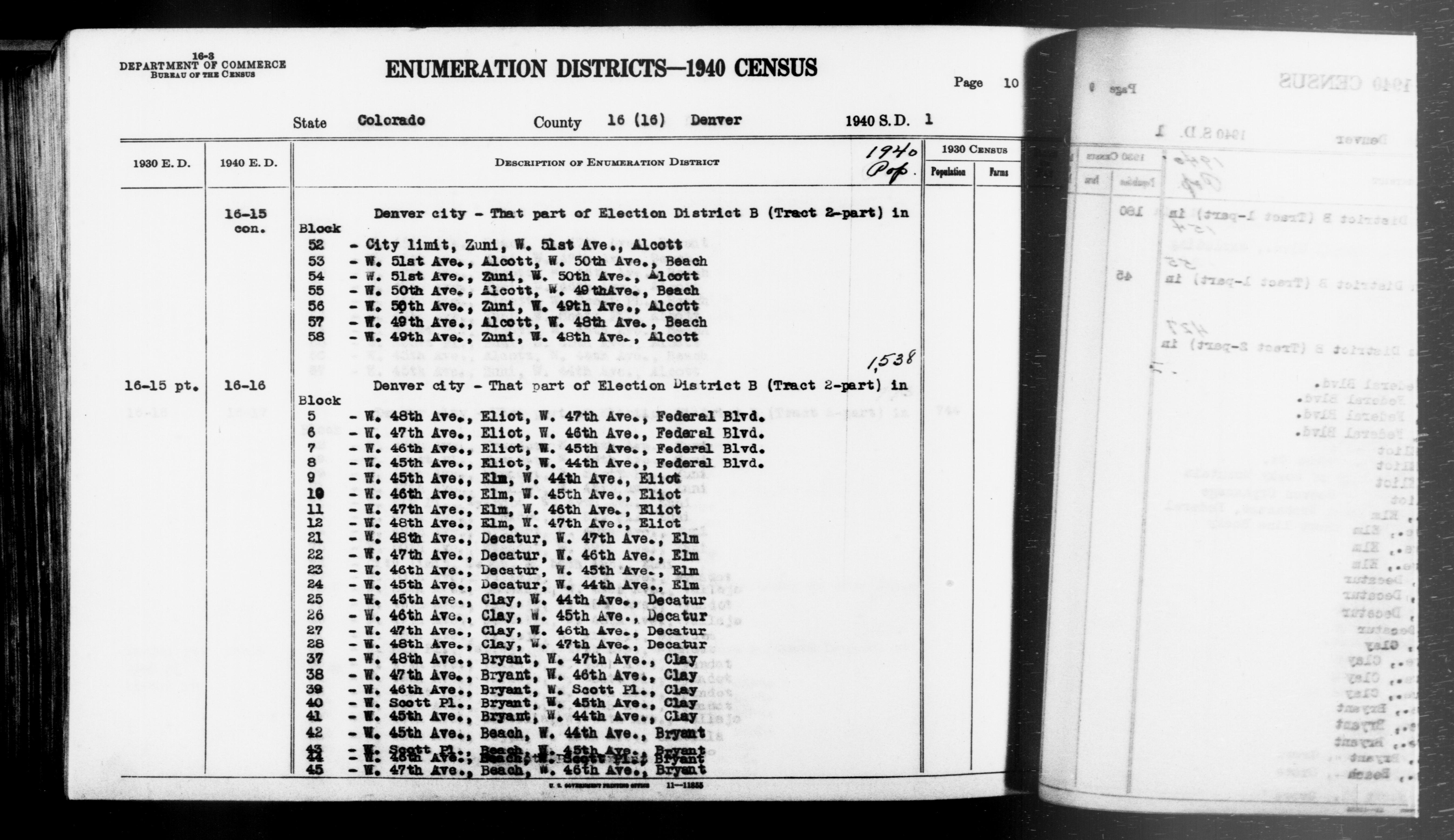 1940 Census Enumeration District Descriptions - Colorado - Denver County - ED 16-15, ED 16-16