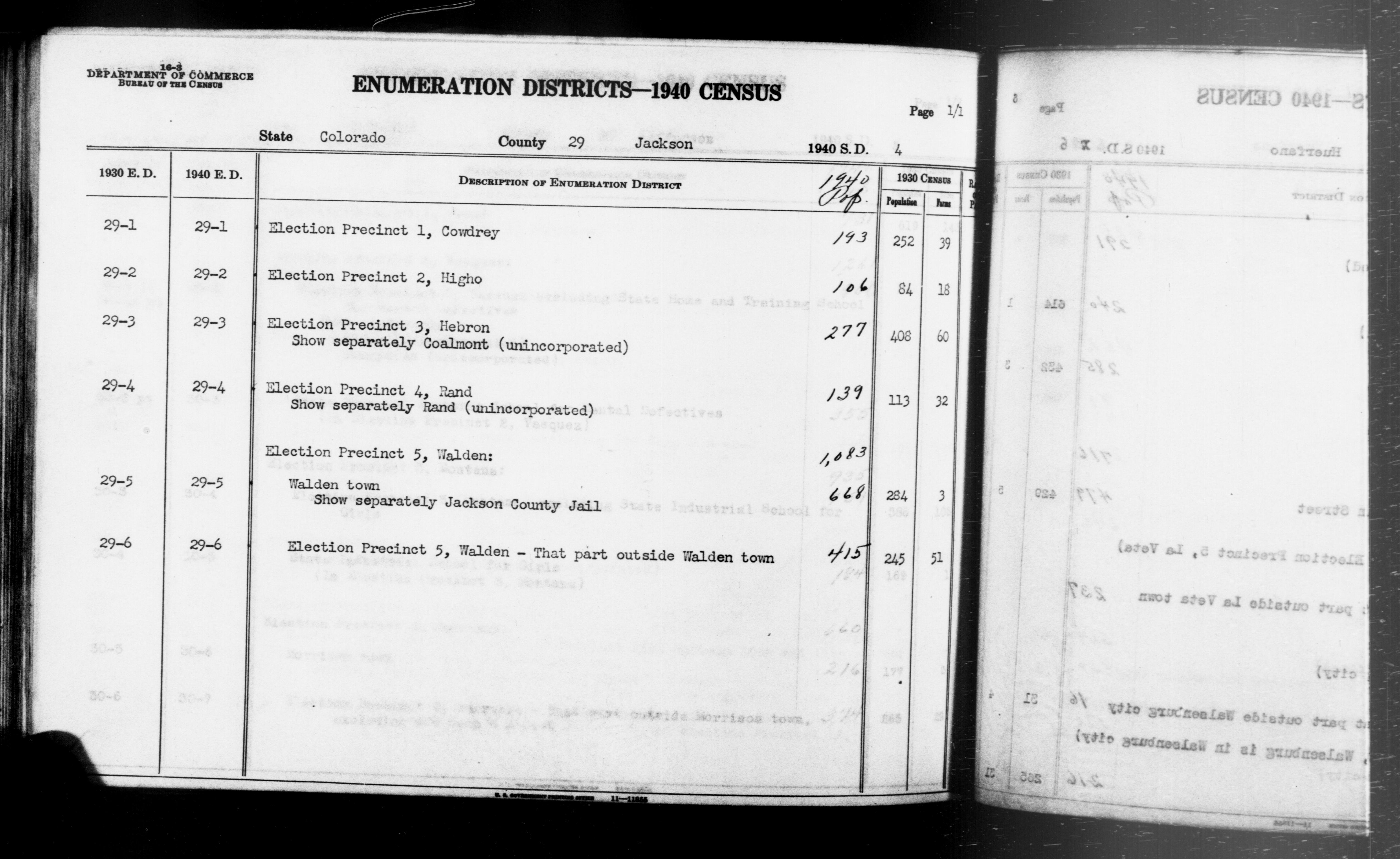 1940 Census Enumeration District Descriptions - Colorado - Jackson County - ED 29-1, ED 29-2, ED 29-3, ED 29-4, ED 29-5, ED 29-6