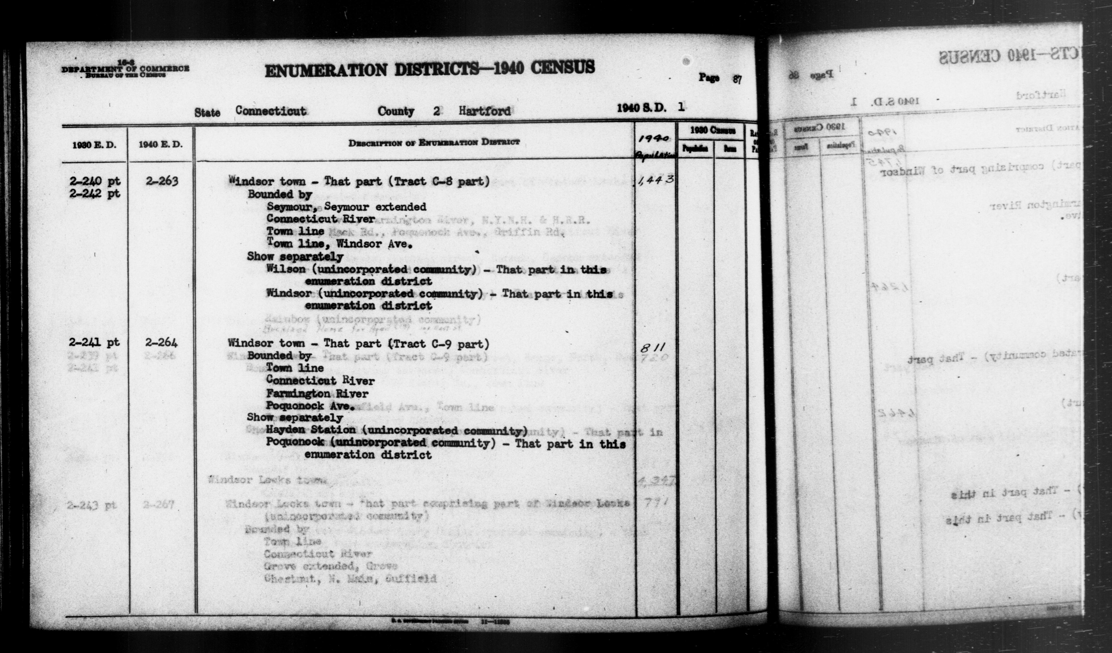 1940 Census Enumeration District Descriptions - Connecticut - Hartford County - ED 2-263, ED 2-264