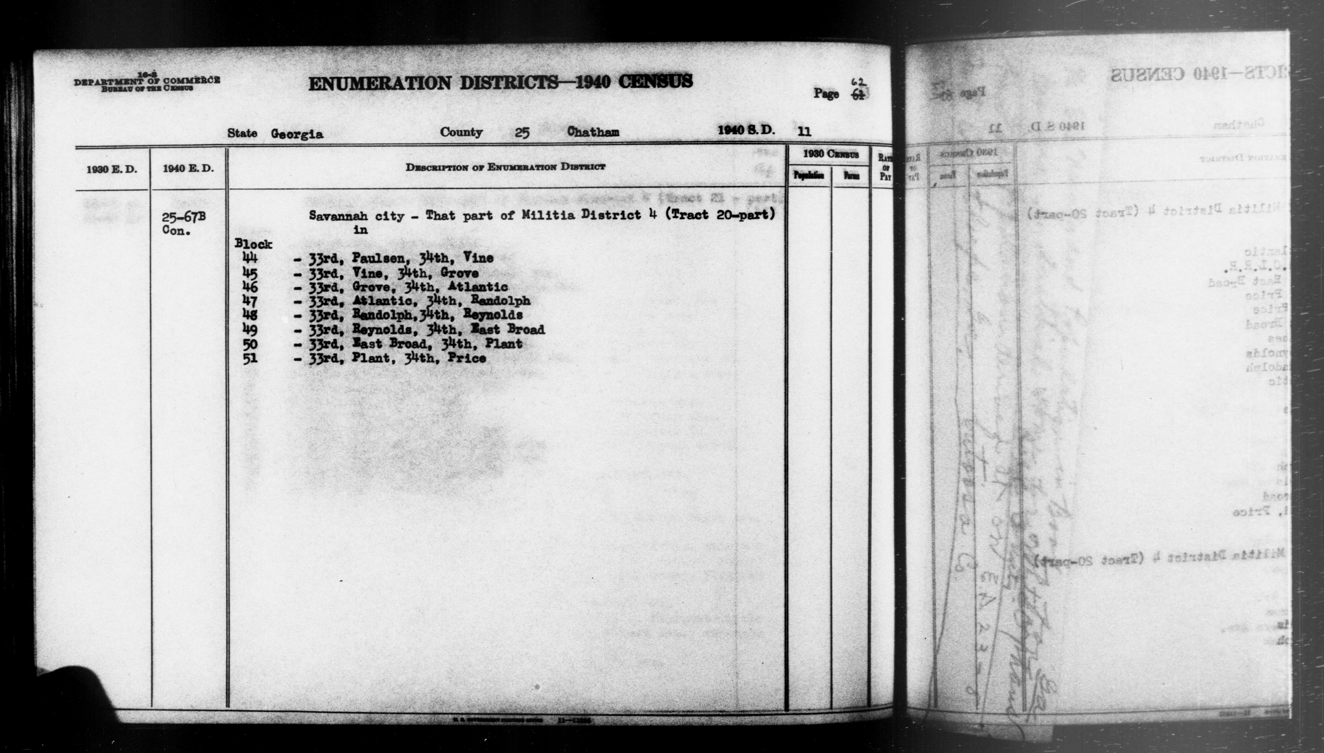 1940 Census Enumeration District Descriptions - Georgia - Chatham County - ED 25-67B