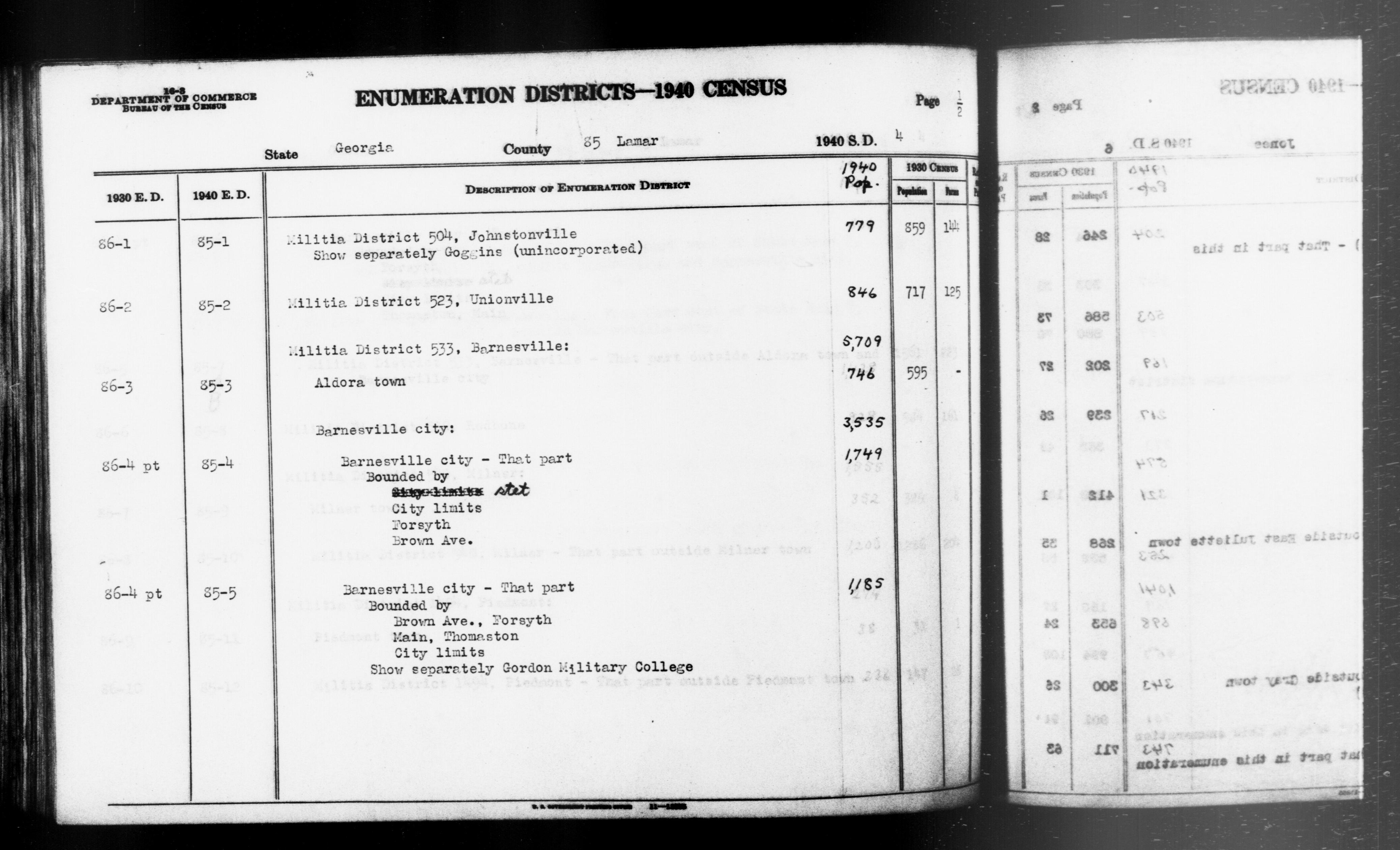 1940 Census Enumeration District Descriptions - Georgia - Lamar County - ED 85-1, ED 85-2, ED 85-3, ED 85-4, ED 85-5