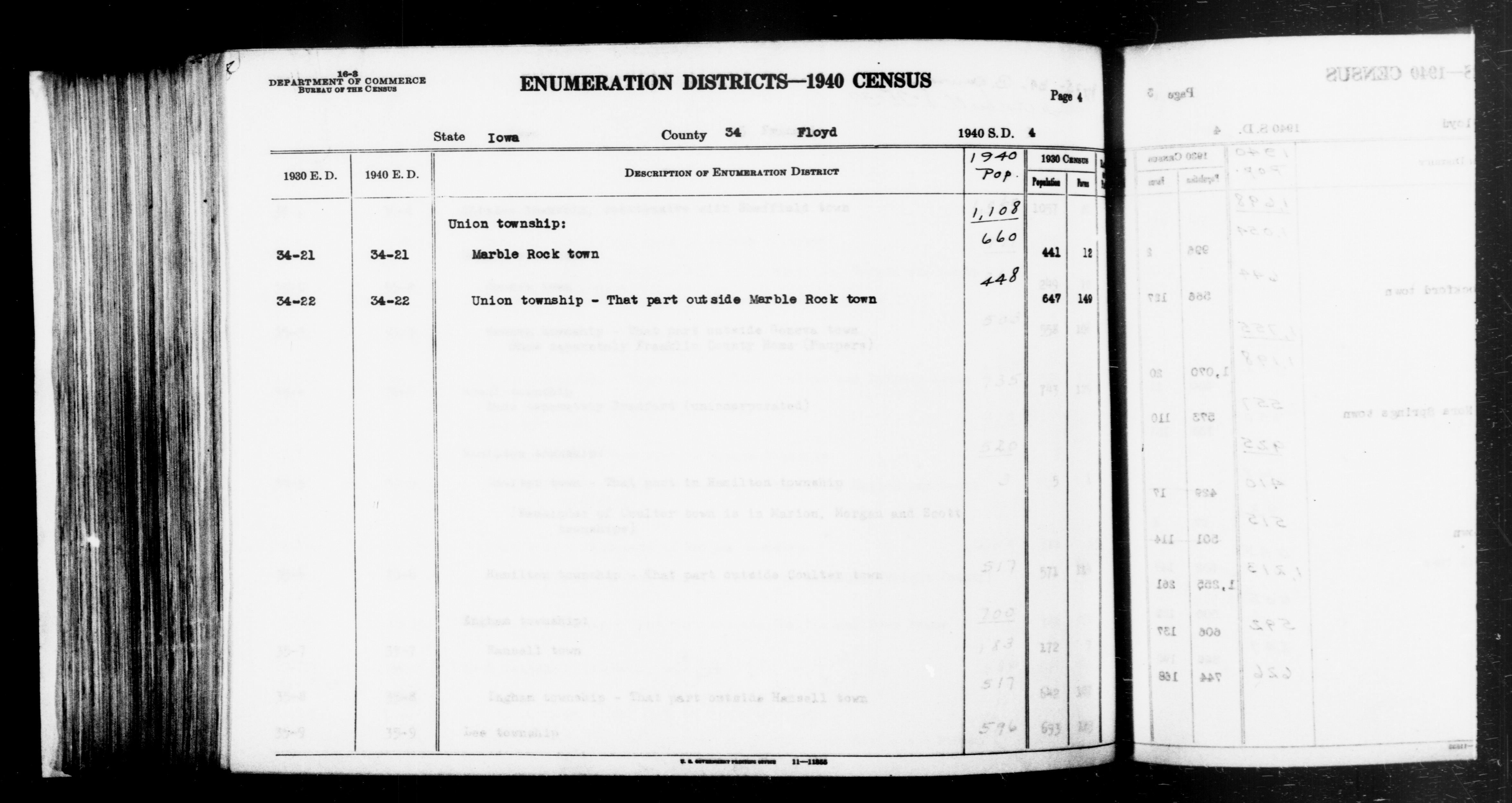 1940 Census Enumeration District Descriptions - Iowa - Floyd County - ED 34-21, ED 34-22