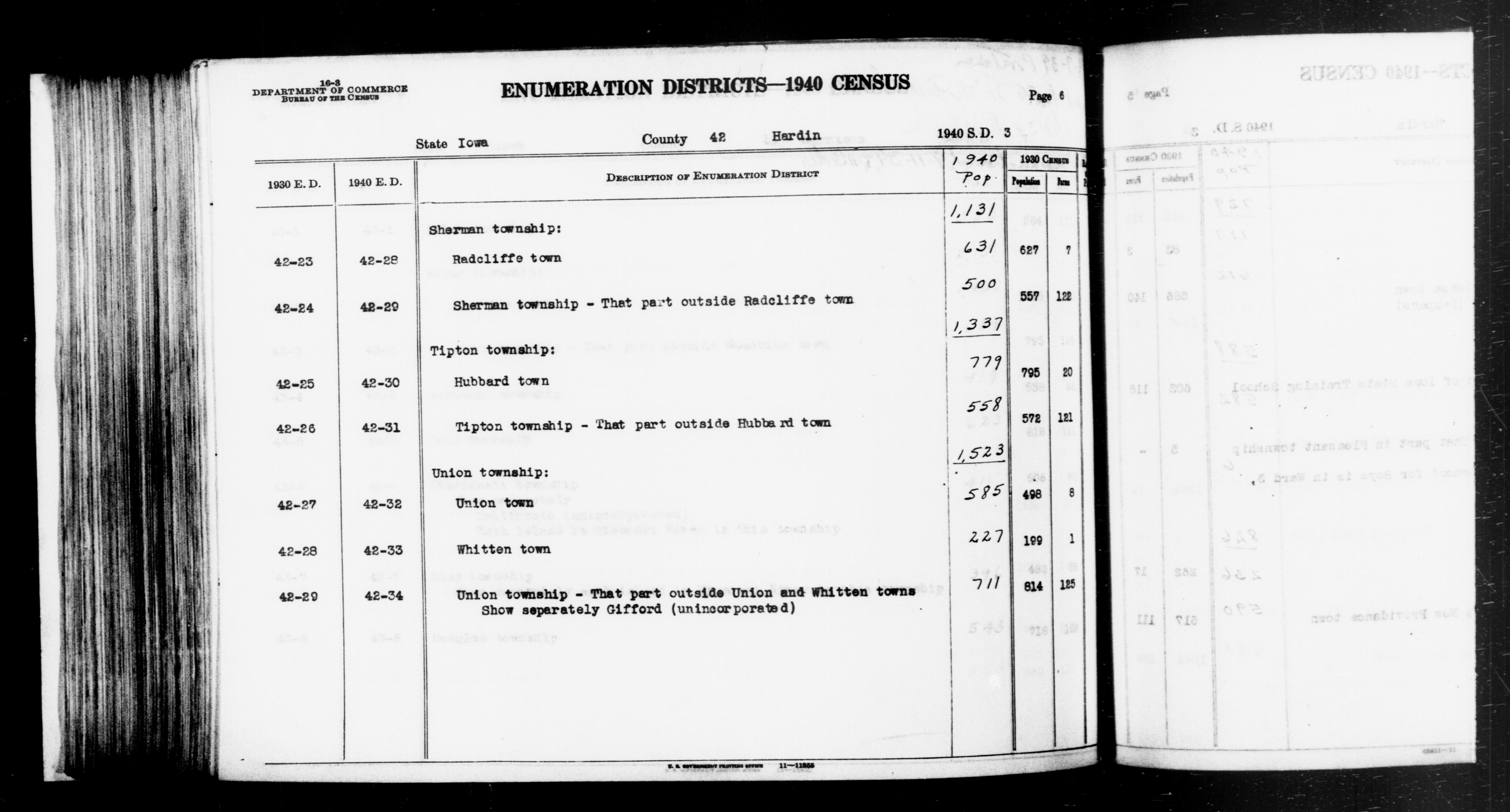 1940 Census Enumeration District Descriptions - Iowa - Hardin County - ED 42-28, ED 42-29, ED 42-30, ED 42-31, ED 42-32, ED 42-33, ED 42-34
