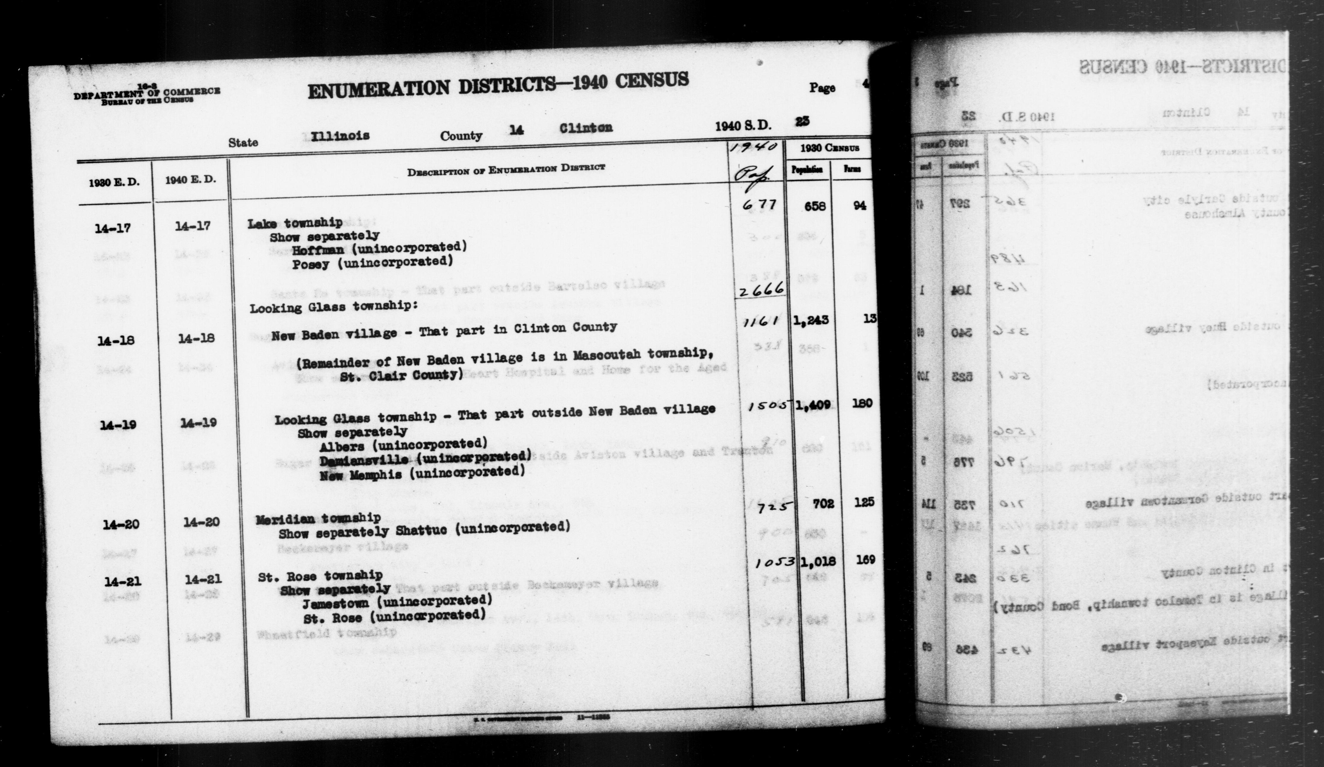 1940 Census Enumeration District Descriptions - Illinois - Clinton County - ED 14-17, ED 14-18, ED 14-19, ED 14-20, ED 14-21