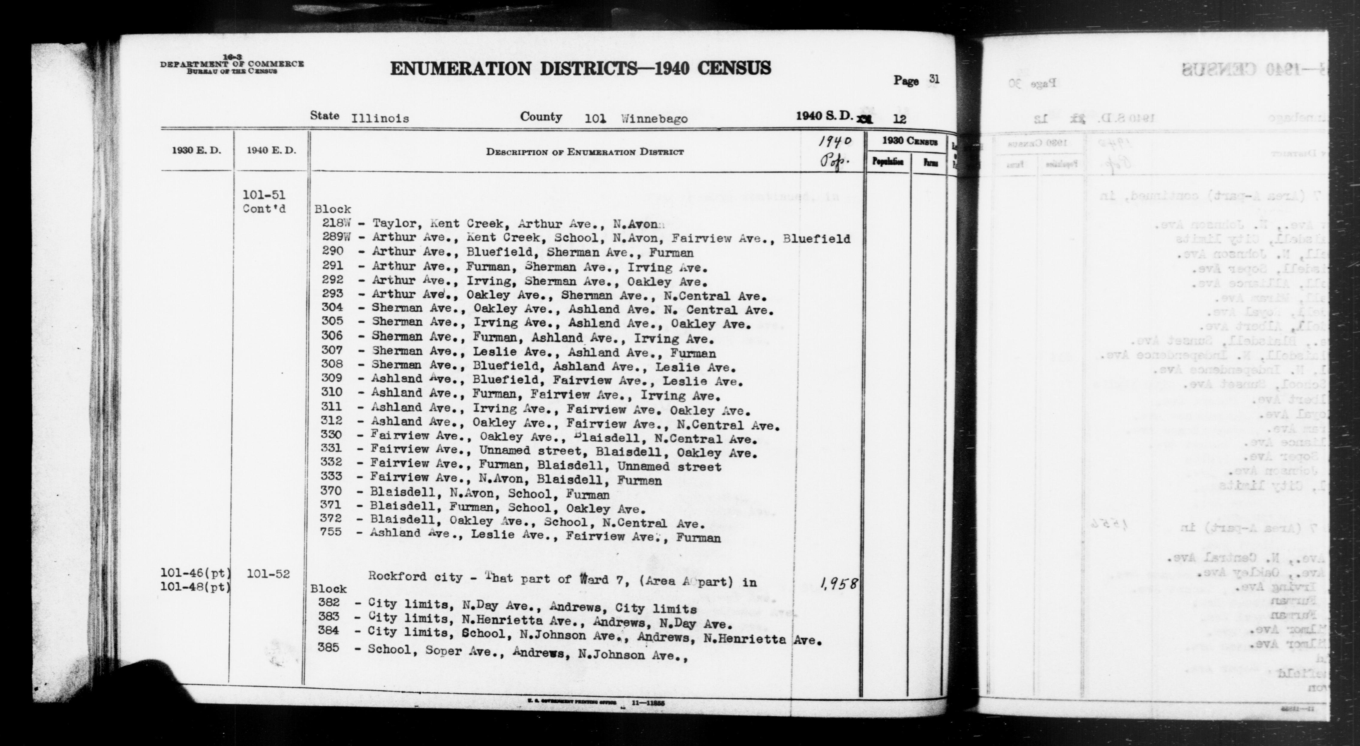 1940 Census Enumeration District Descriptions - Illinois - Winnebago County - ED 101-51, ED 101-52