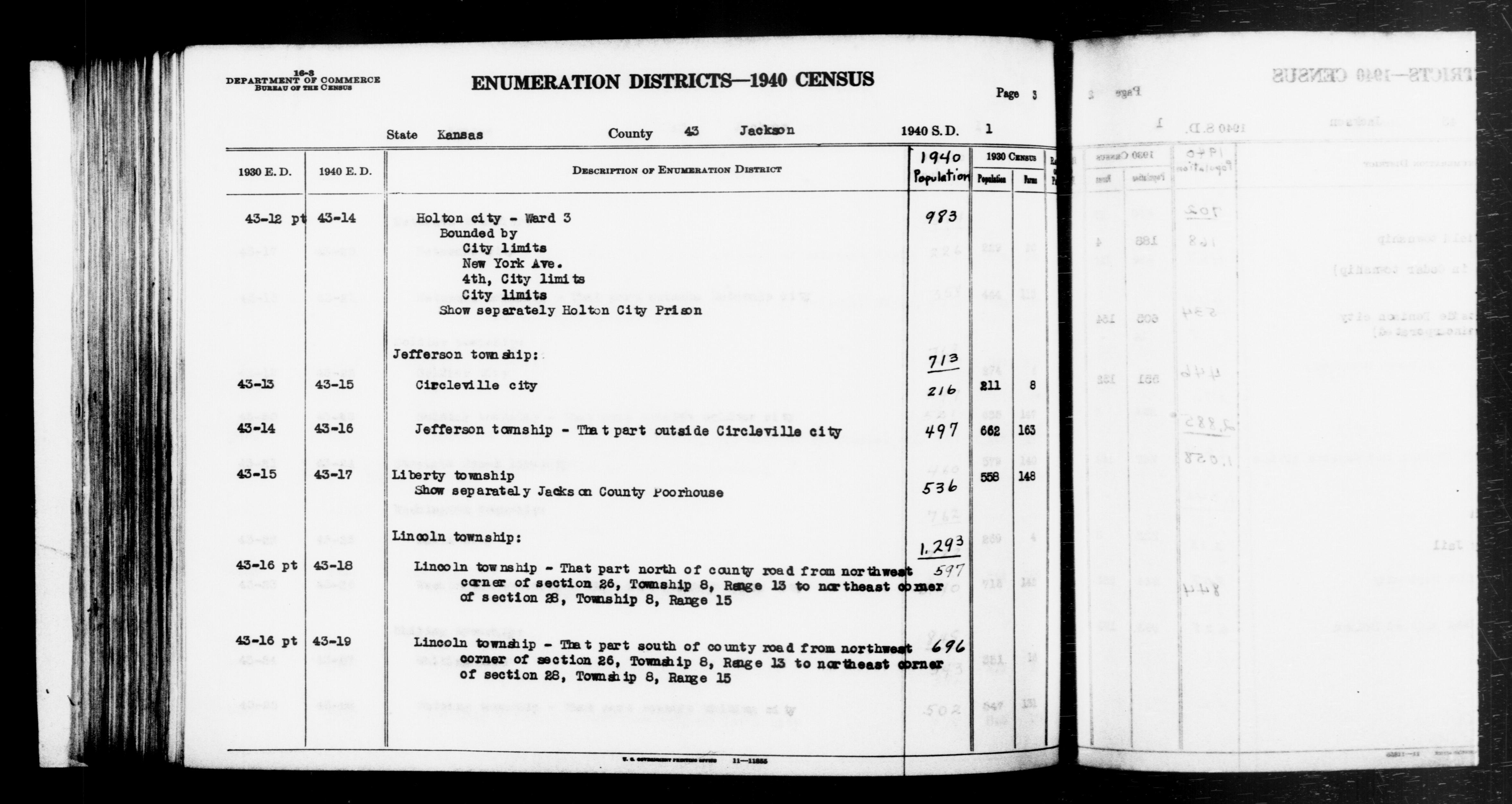1940 Census Enumeration District Descriptions - Kansas - Jackson County - ED 43-14, ED 43-15, ED 43-16, ED 43-17, ED 43-18, ED 43-19