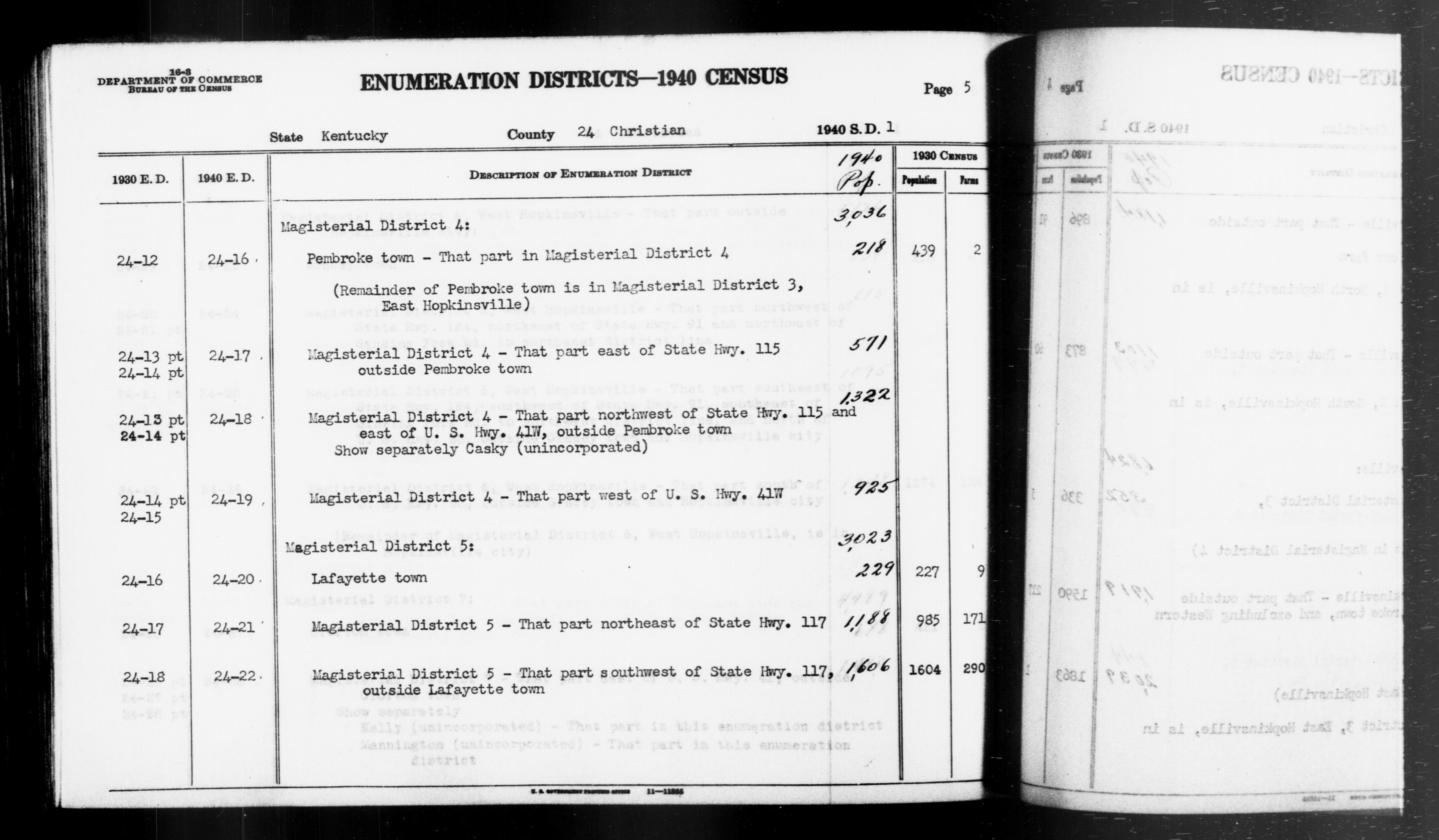 1940 Census Enumeration District Descriptions - Kentucky - Christian County - ED 24-16, ED 24-17, ED 24-18, ED 24-19, ED 24-20, ED 24-21, ED 24-22