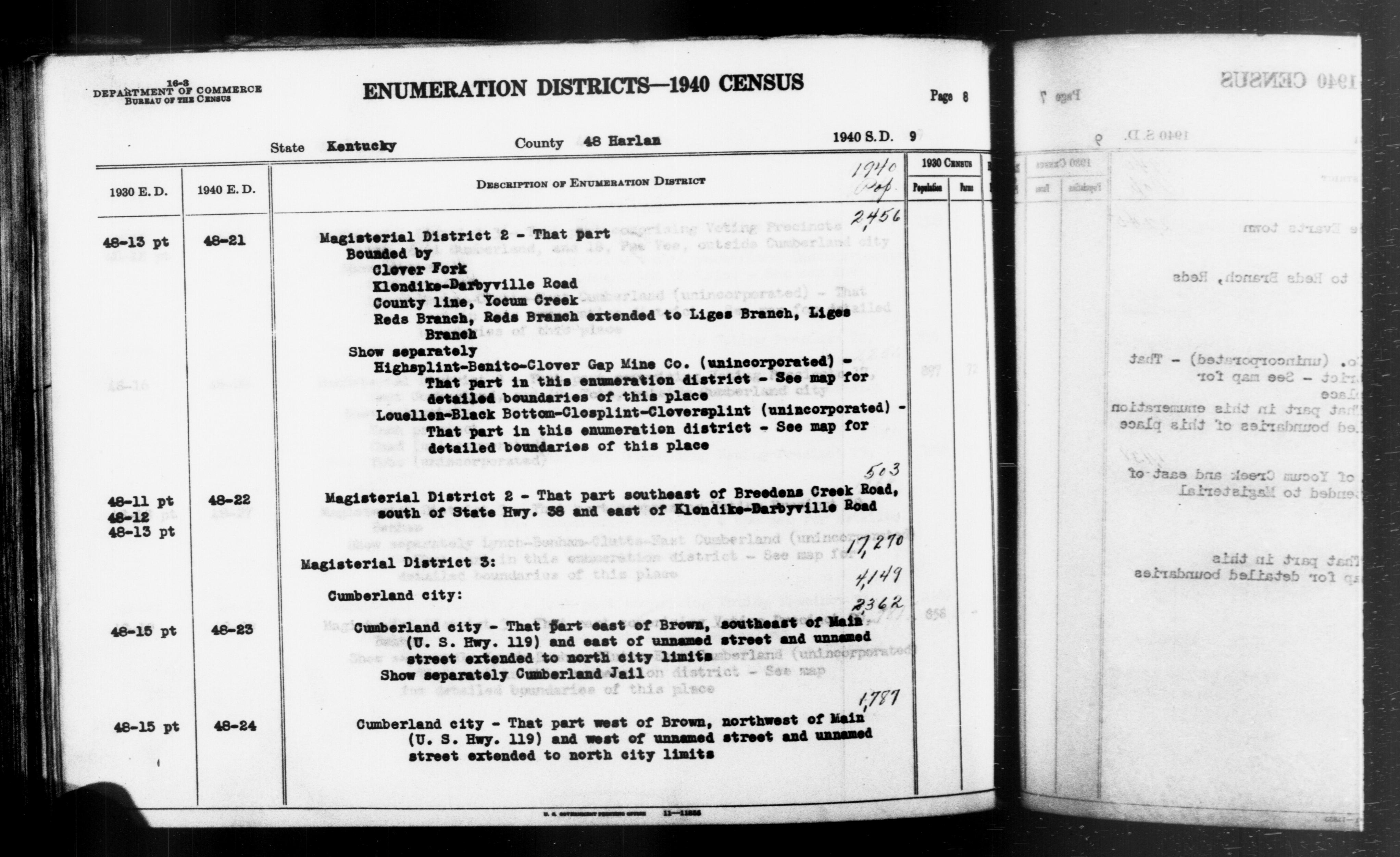 1940 Census Enumeration District Descriptions - Kentucky - Harlan County - ED 48-21, ED 48-22, ED 48-23, ED 48-24