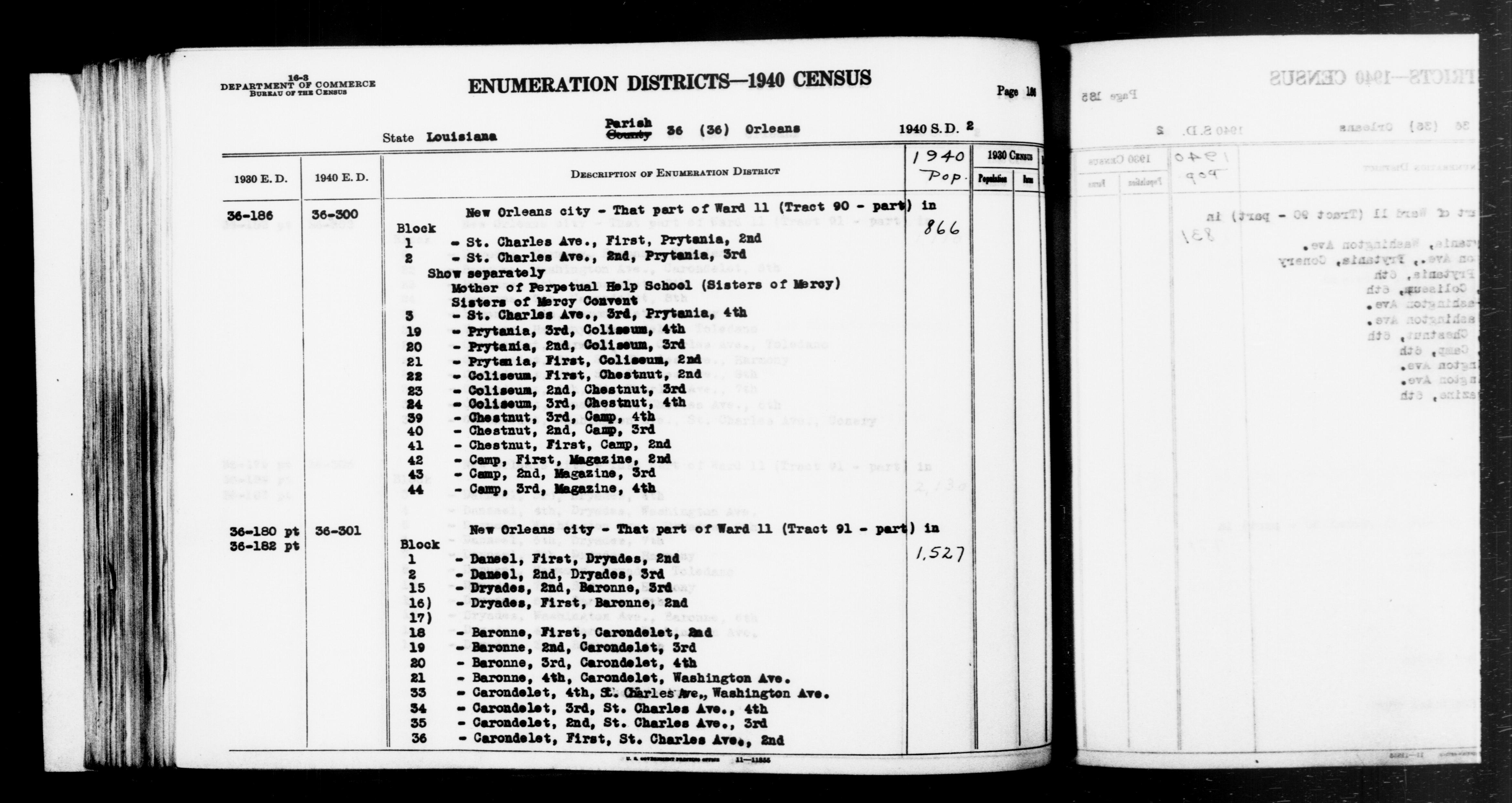1940 Census Enumeration District Descriptions - Louisiana - Orleans County - ED 36-300, ED 36-301