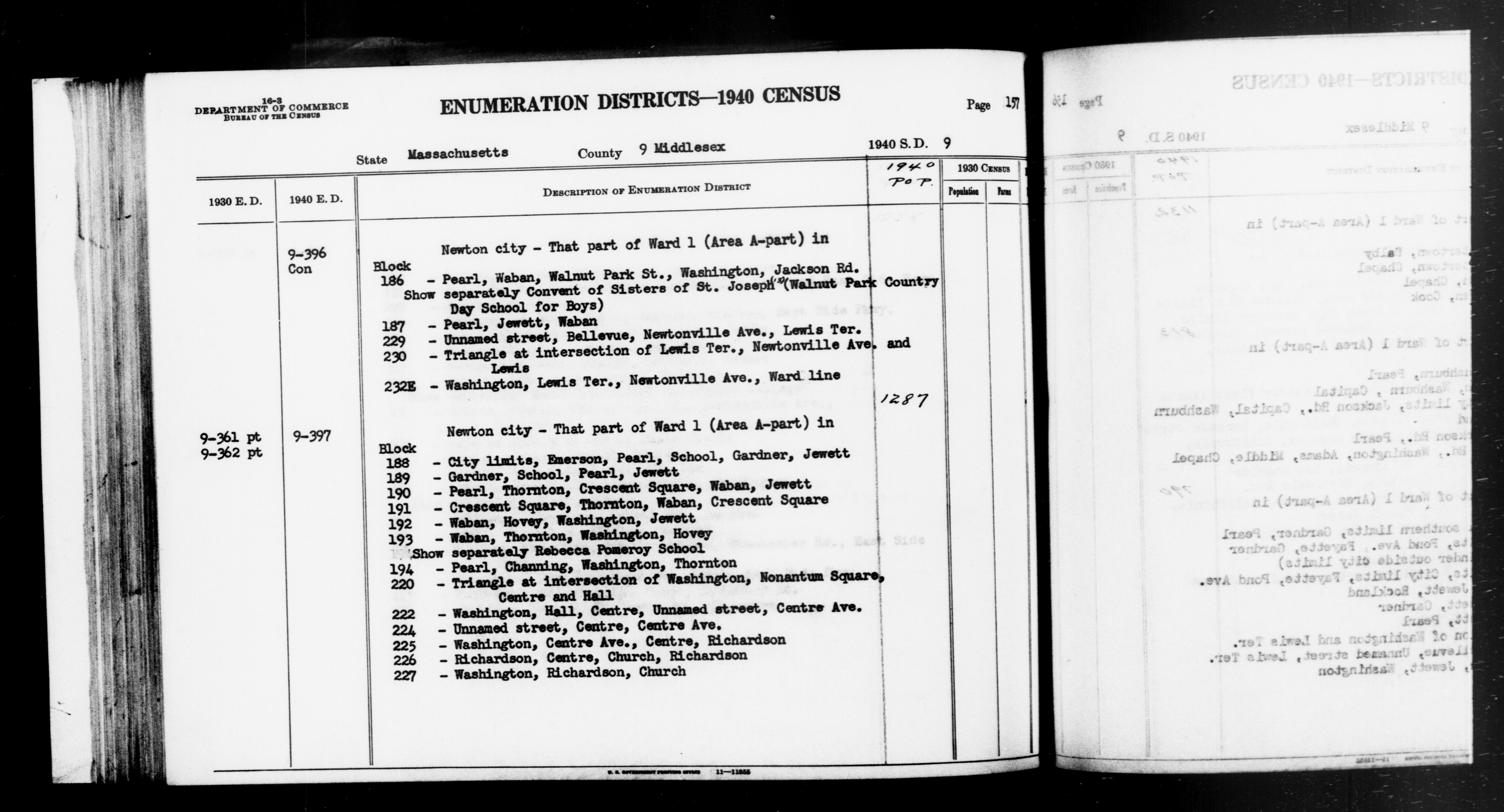 1940 Census Enumeration District Descriptions - Massachusetts - Middlesex County - ED 9-396, ED 9-397