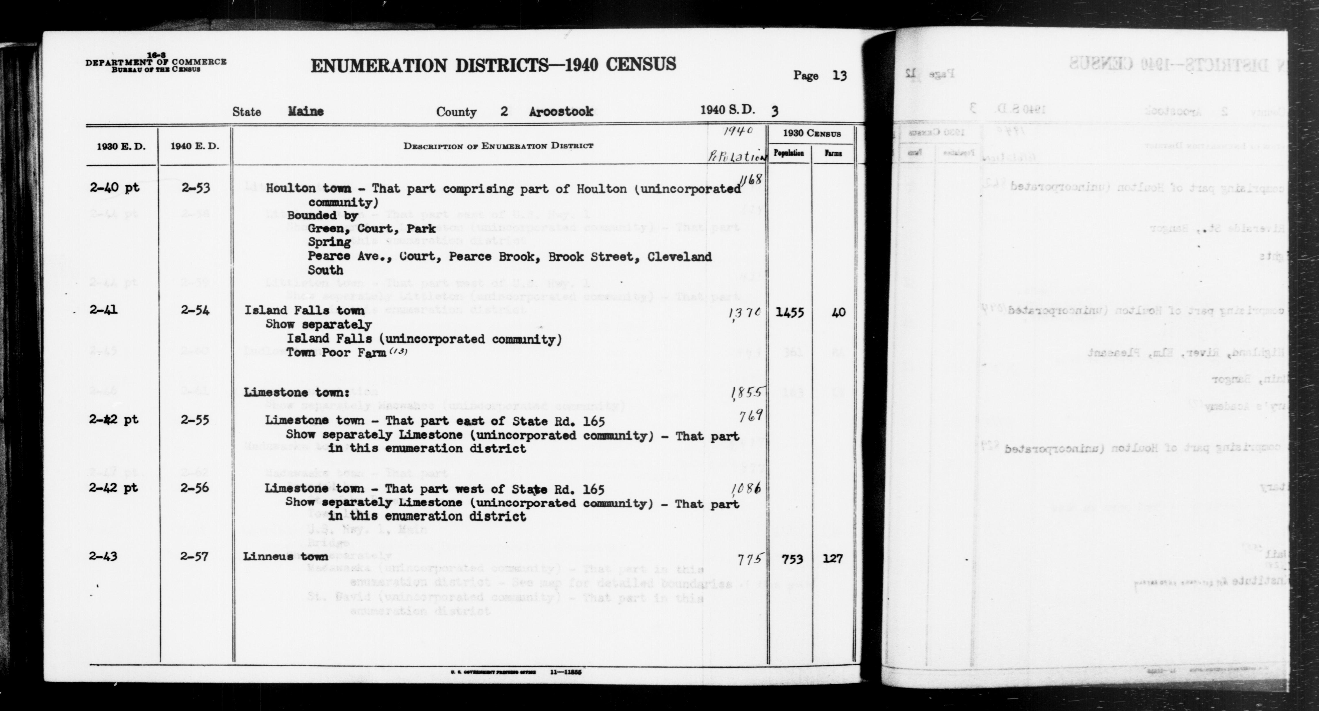1940 Census Enumeration District Descriptions - Maine - Aroostook County - ED 2-53, ED 2-54, ED 2-55, ED 2-56, ED 2-57