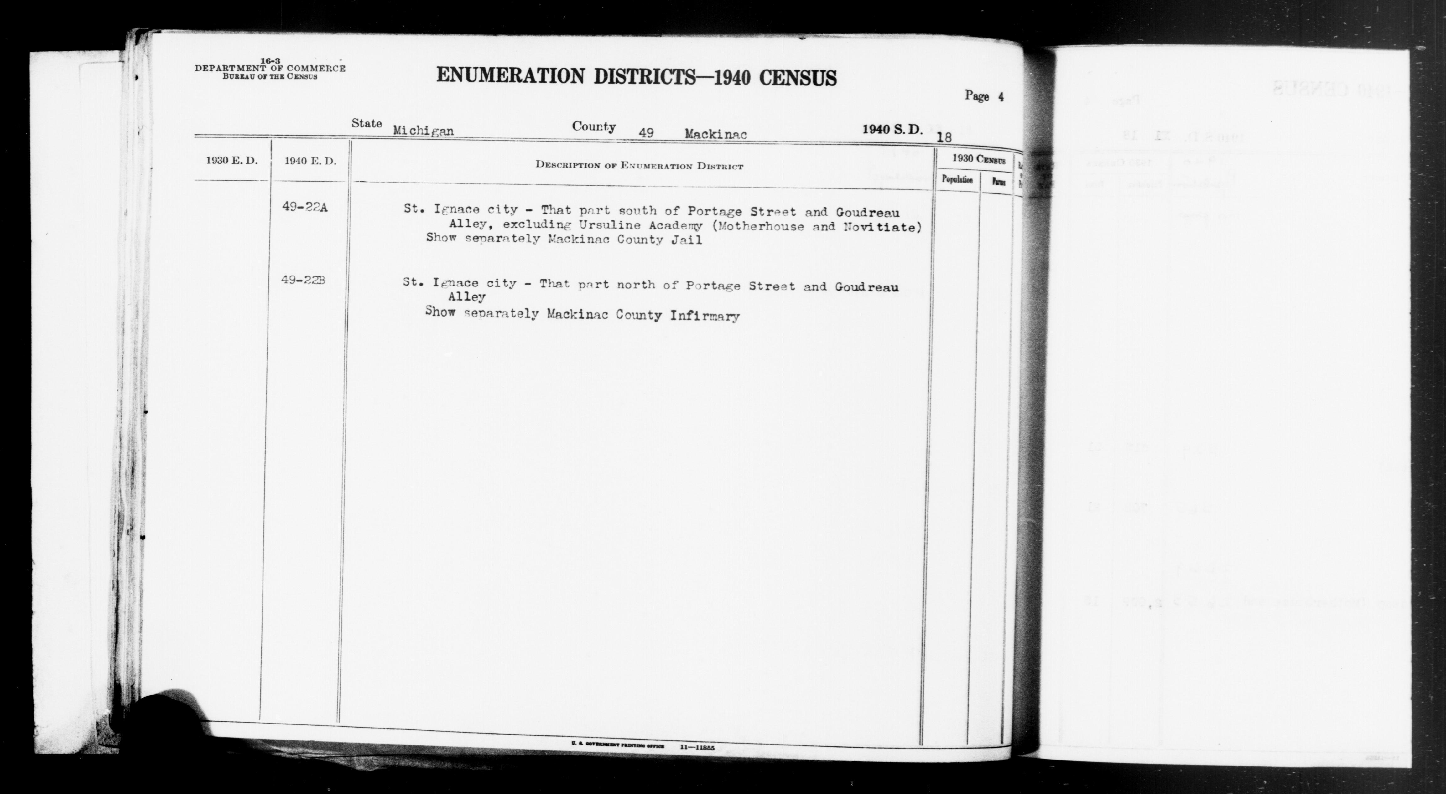 1940 Census Enumeration District Descriptions - Michigan - Mackinac County - ED 49-22A, ED 49-22B