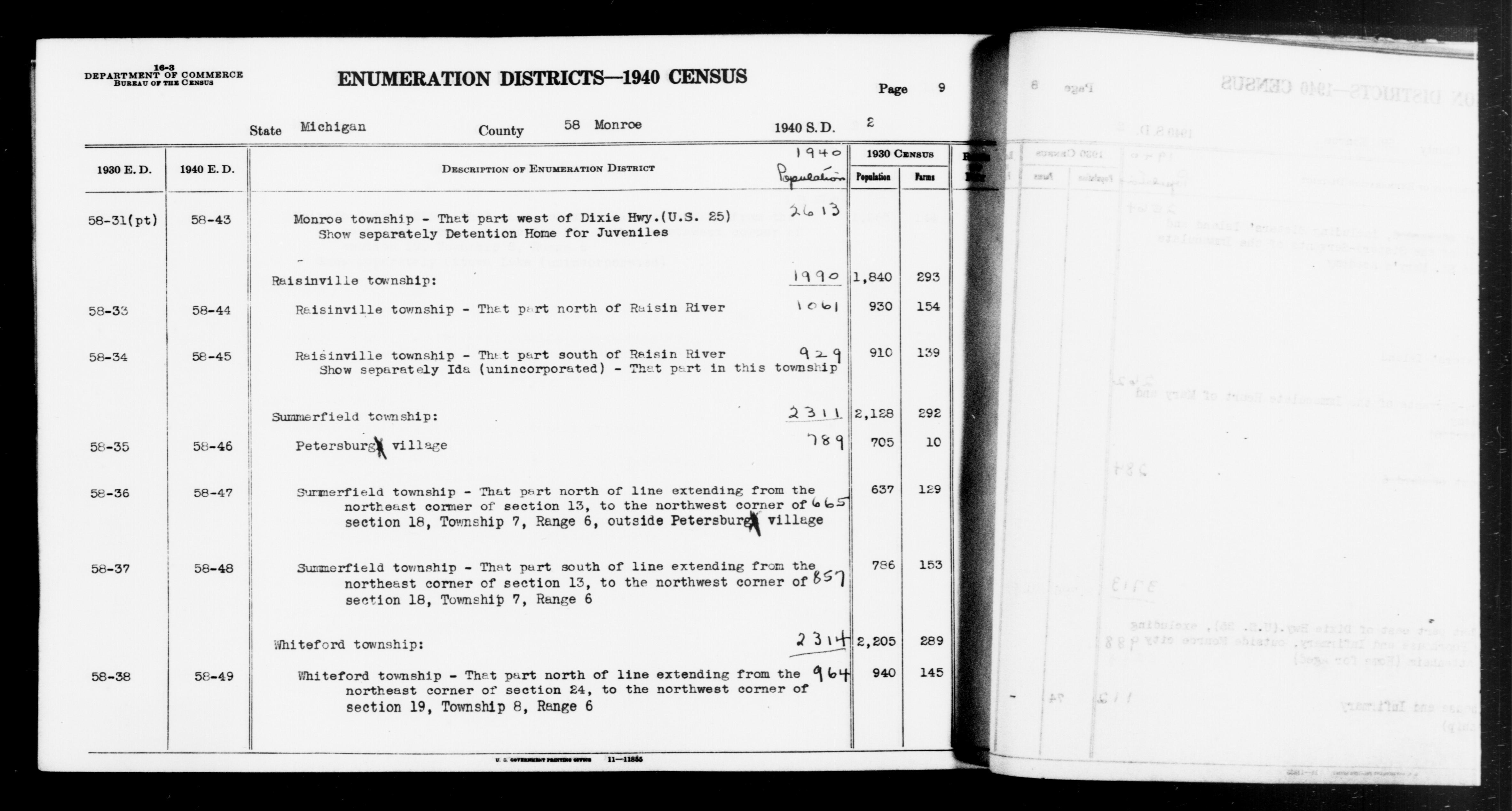 1940 Census Enumeration District Descriptions - Michigan - Monroe County - ED 58-43, ED 58-44, ED 58-45, ED 58-46, ED 58-47, ED 58-48, ED 58-49