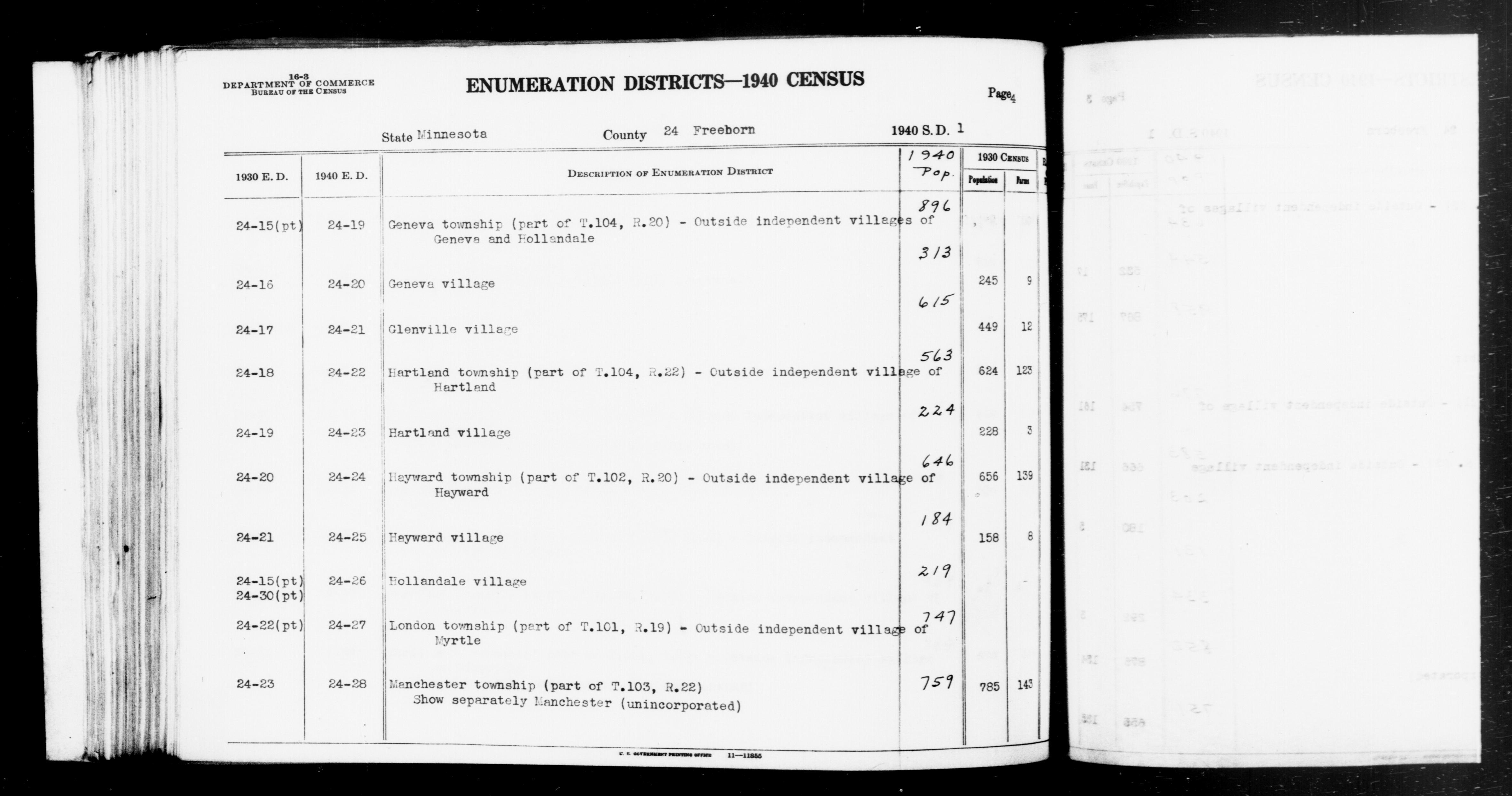 1940 Census Enumeration District Descriptions - Minnesota - Freeborn County - ED 24-19, ED 24-20, ED 24-21, ED 24-22, ED 24-23, ED 24-24, ED 24-25, ED 24-26, ED 24-27, ED 24-28