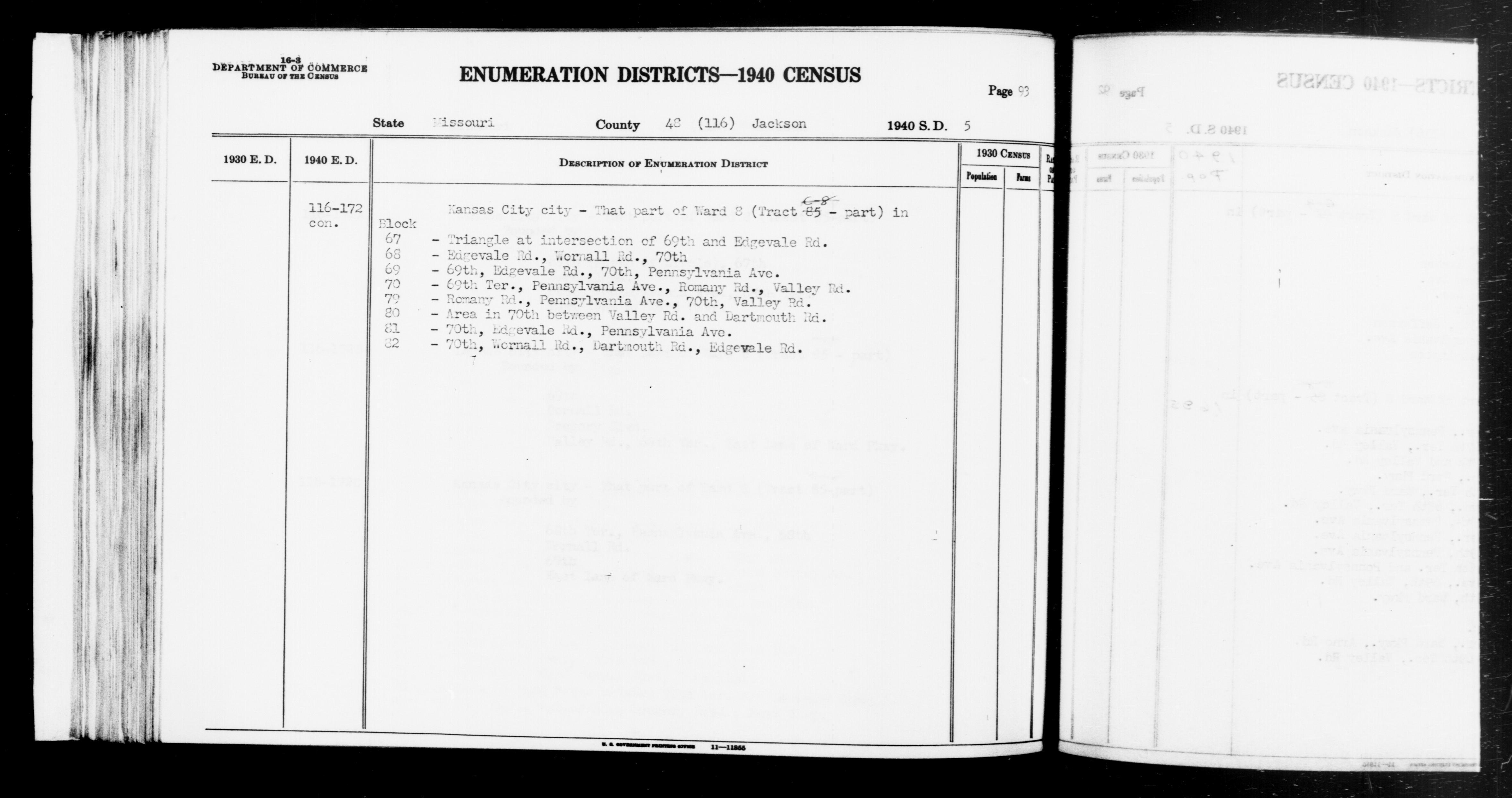 1940 Census Enumeration District Descriptions - Missouri - Jackson County - ED 116-172A, ED 116-172B, ED 116-172C