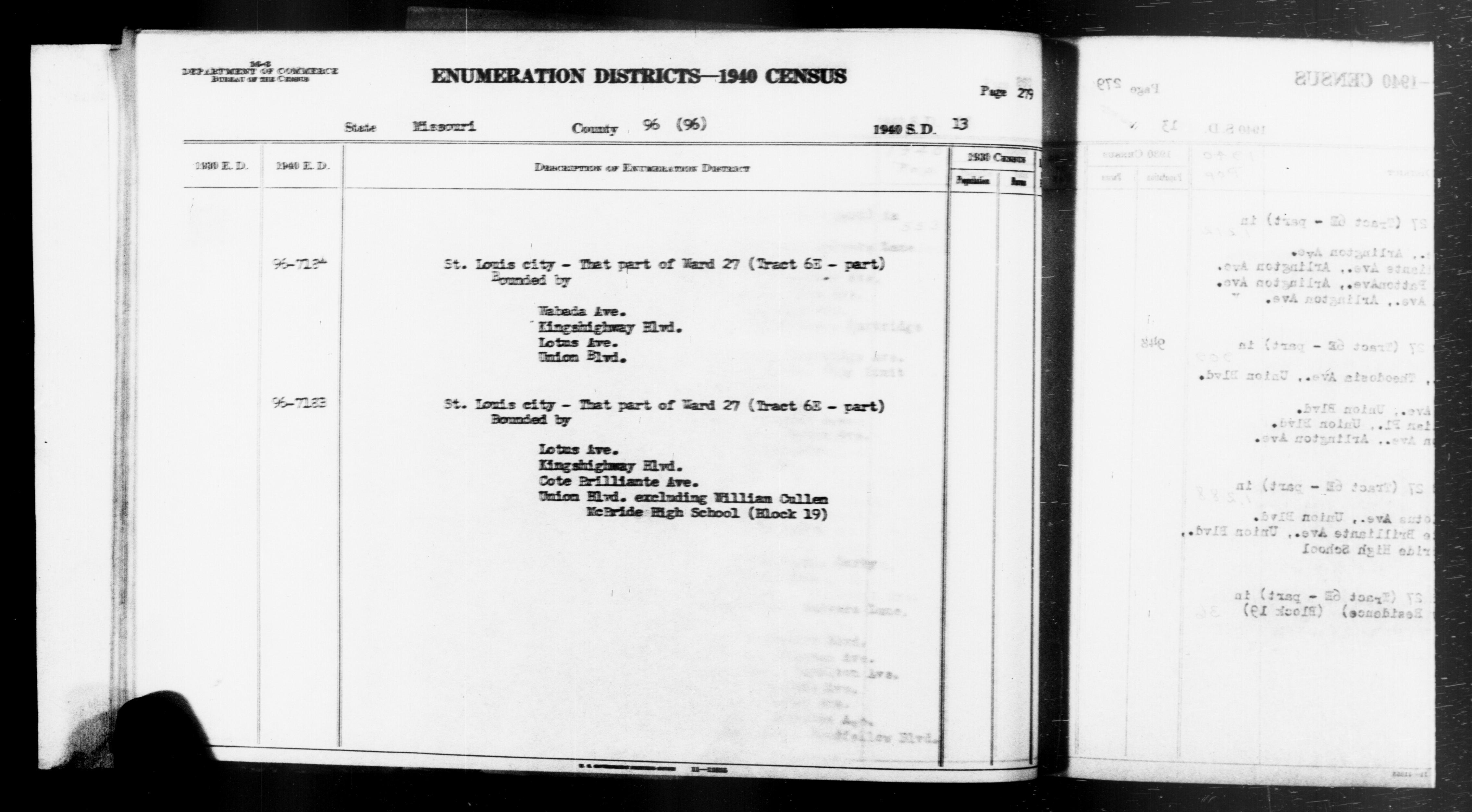 1940 Census Enumeration District Descriptions - Missouri - St. Louis City County - ED 96-718A, ED 96-718B
