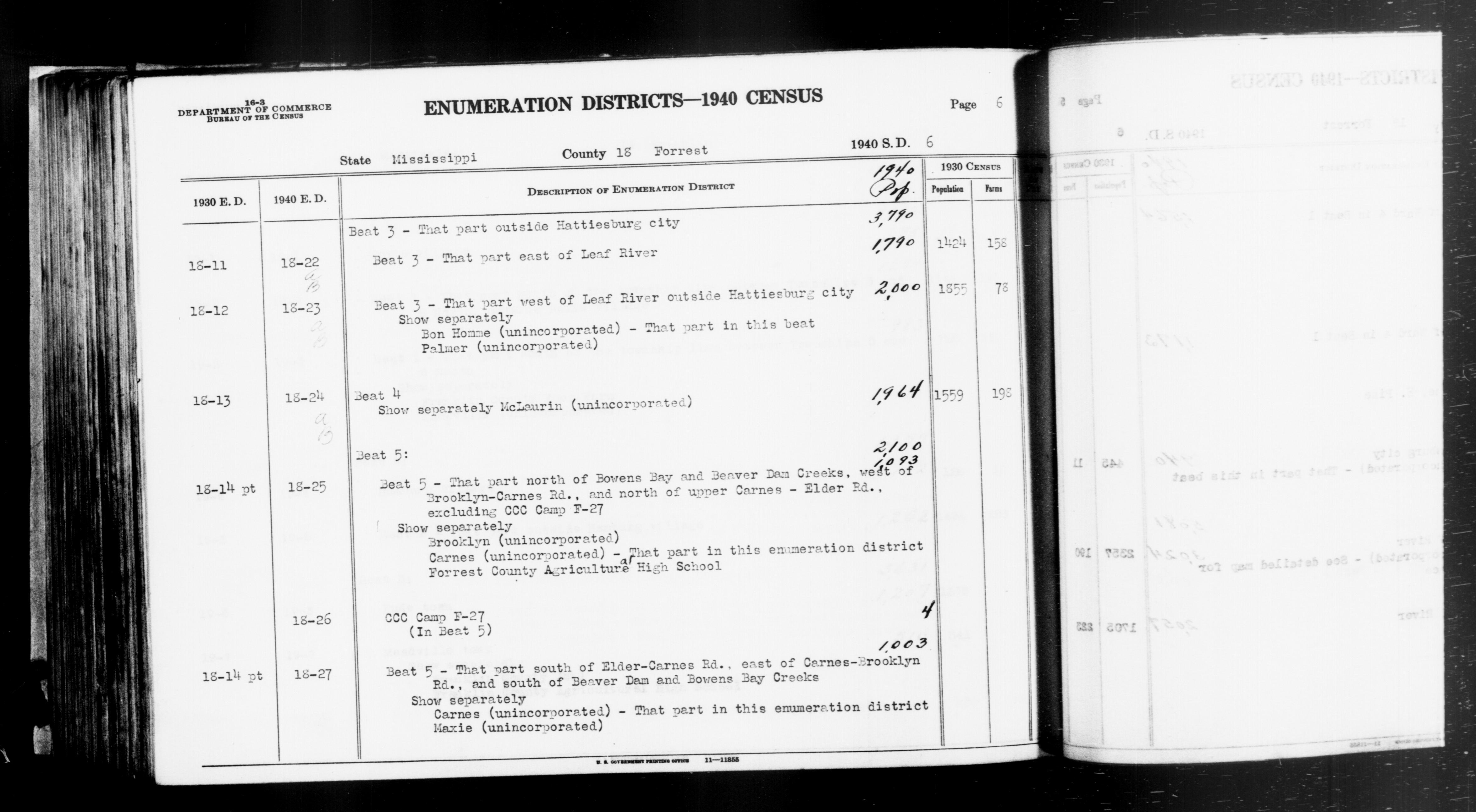 1940 Census Enumeration District Descriptions - Mississippi - Forrest County - ED 18-22A, ED 18-22B, ED 18-23A, ED 18-23B, ED 18-24A, ED 18-24B, ED 18-25, ED 18-26, ED 18-27