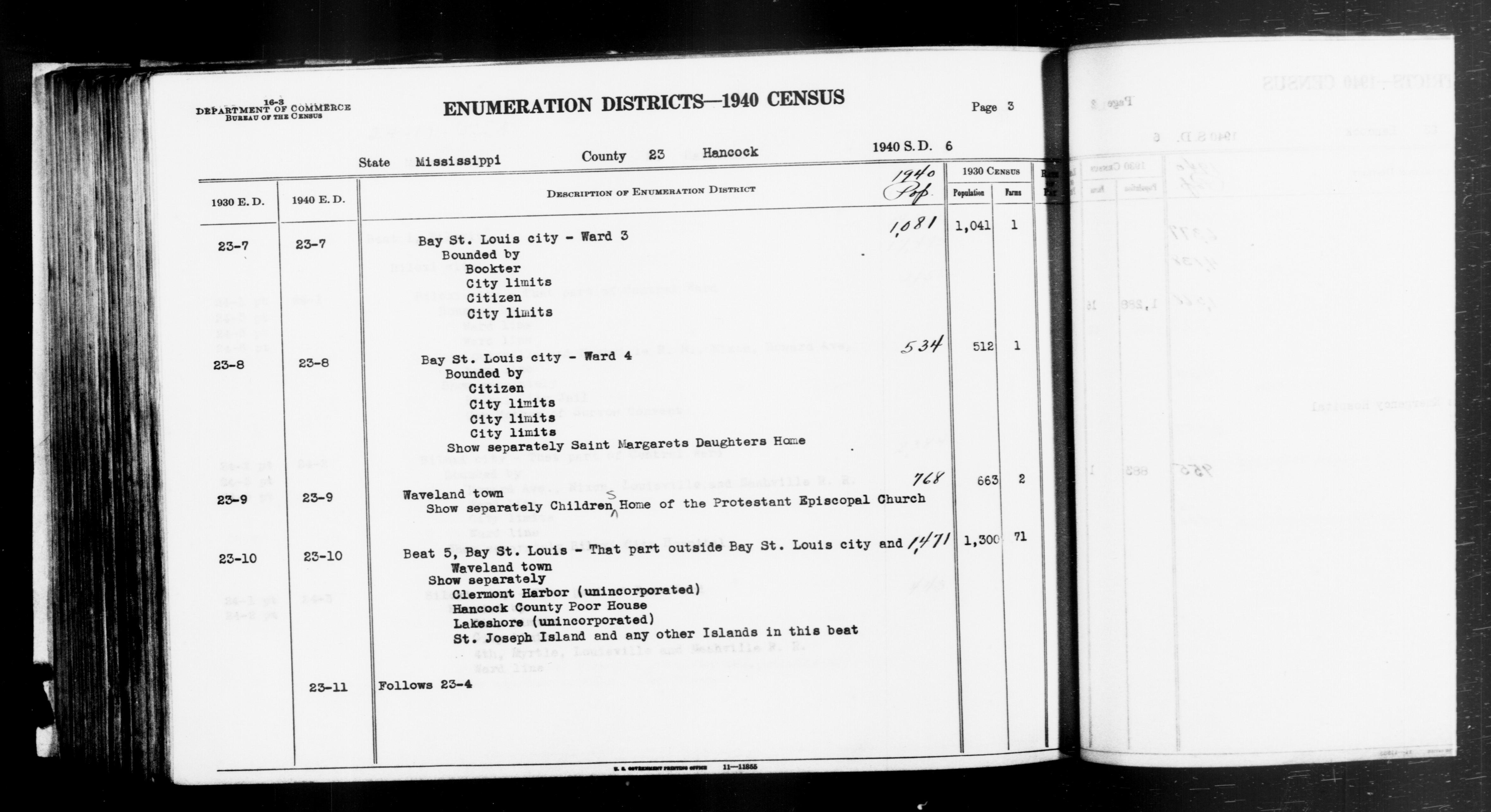 1940 Census Enumeration District Descriptions - Mississippi - Hancock County - ED 23-7, ED 23-8, ED 23-9, ED 23-10