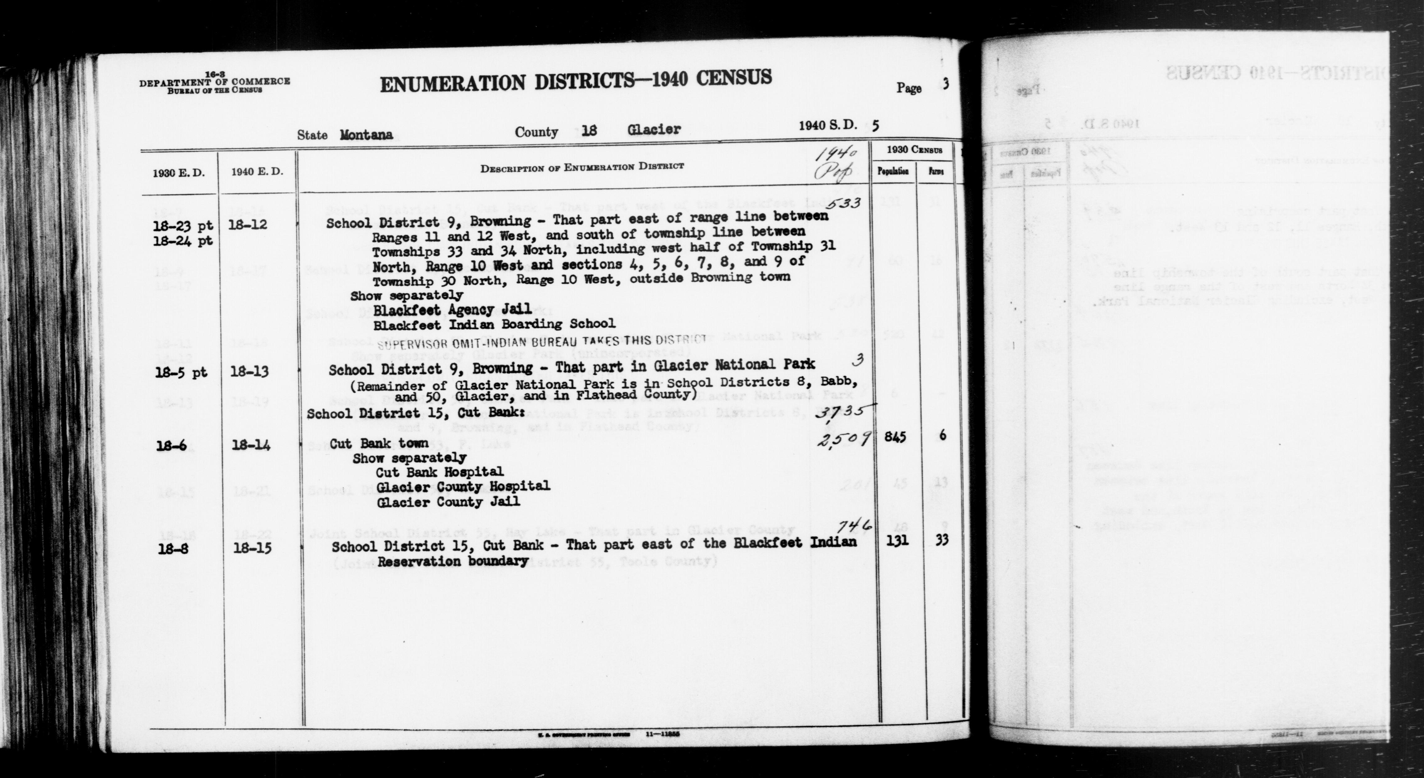 1940 Census Enumeration District Descriptions - Montana - Glacier County - ED 18-12, ED 18-13, ED 18-14A, ED 18-14B, ED 18-15