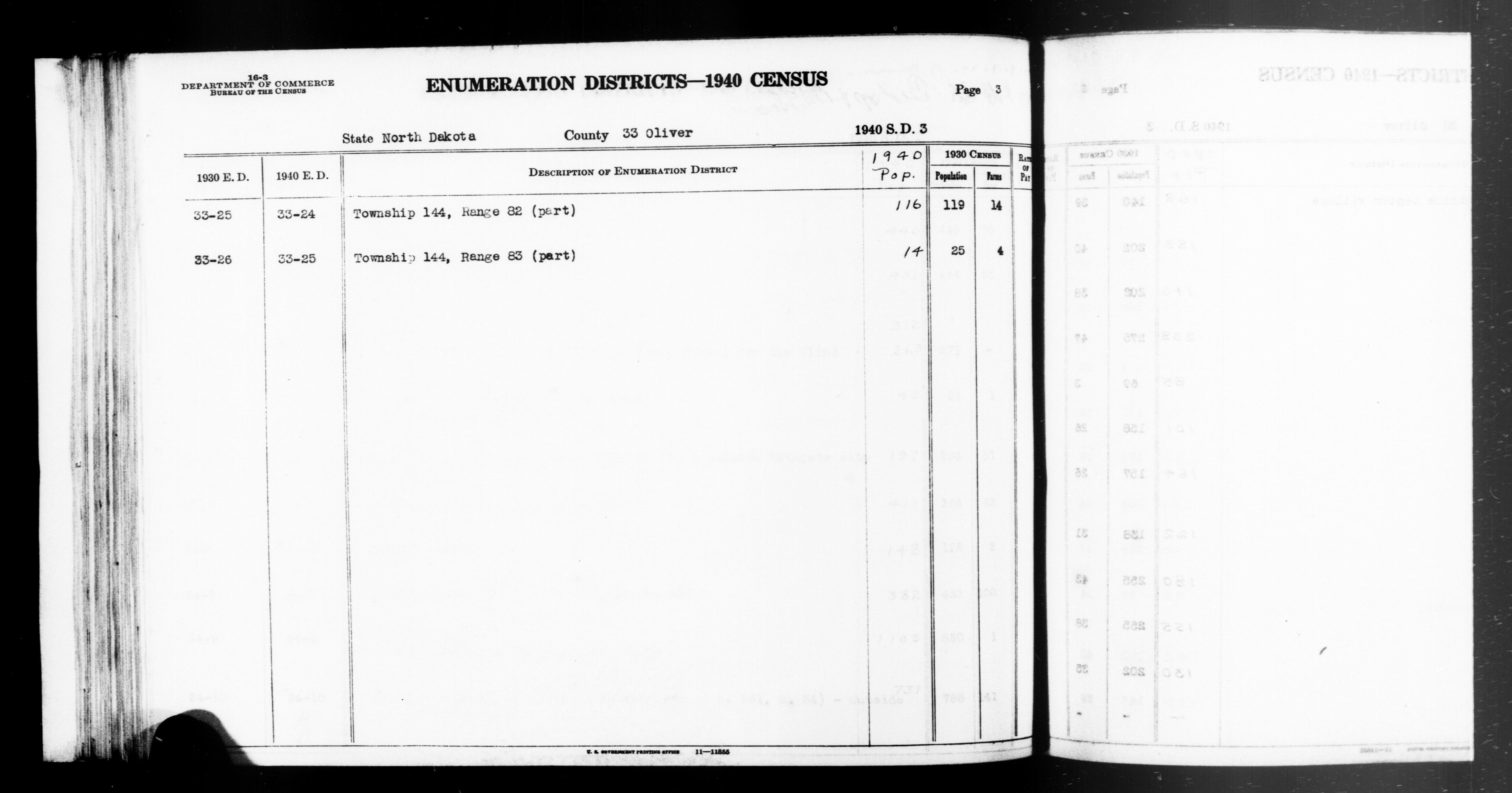 1940 Census Enumeration District Descriptions - North Dakota - Oliver County - ED 33-24, ED 33-25