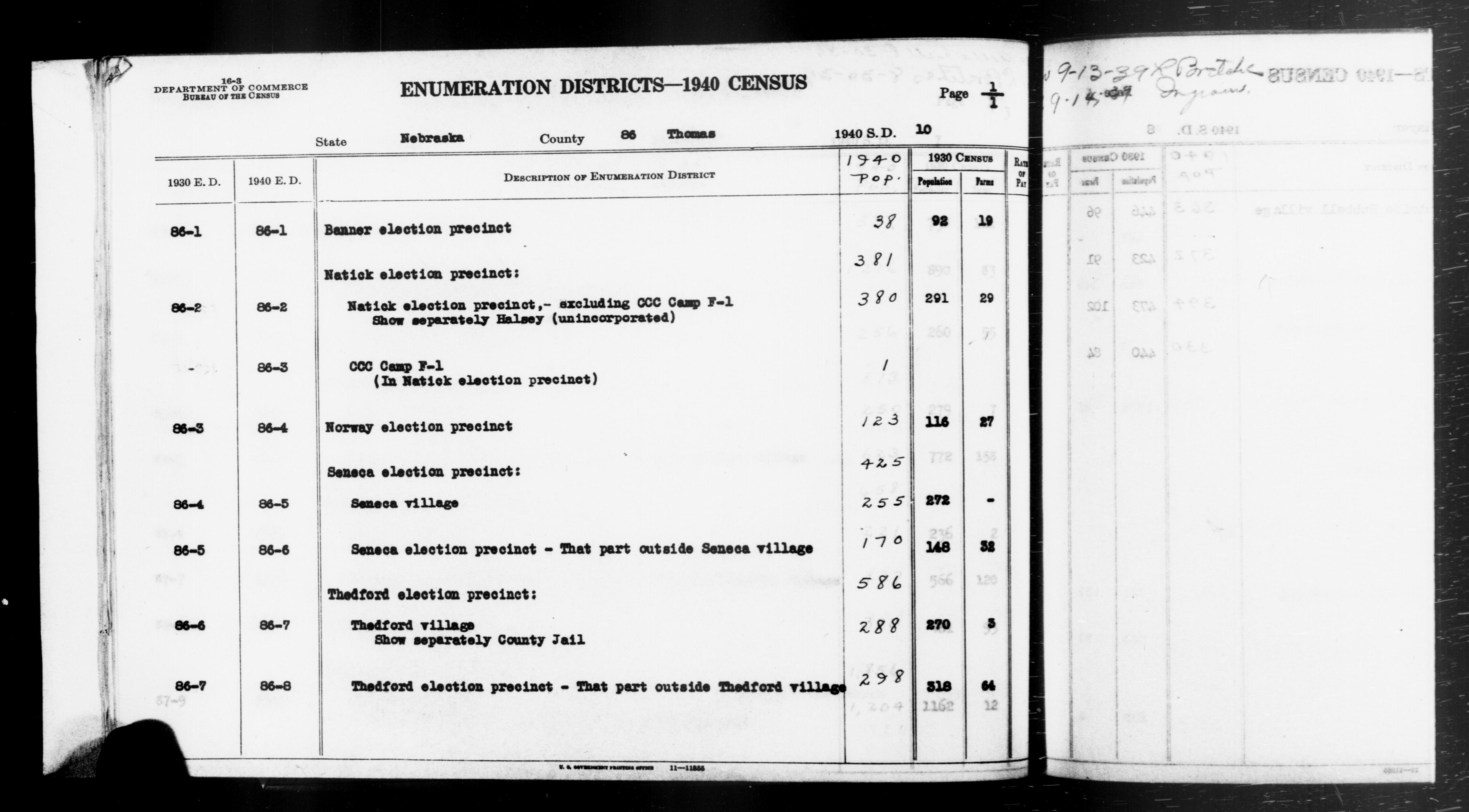1940 Census Enumeration District Descriptions - Nebraska - Thomas County - ED 86-1, ED 86-2, ED 86-3, ED 86-4, ED 86-5, ED 86-6, ED 86-7, ED 86-8