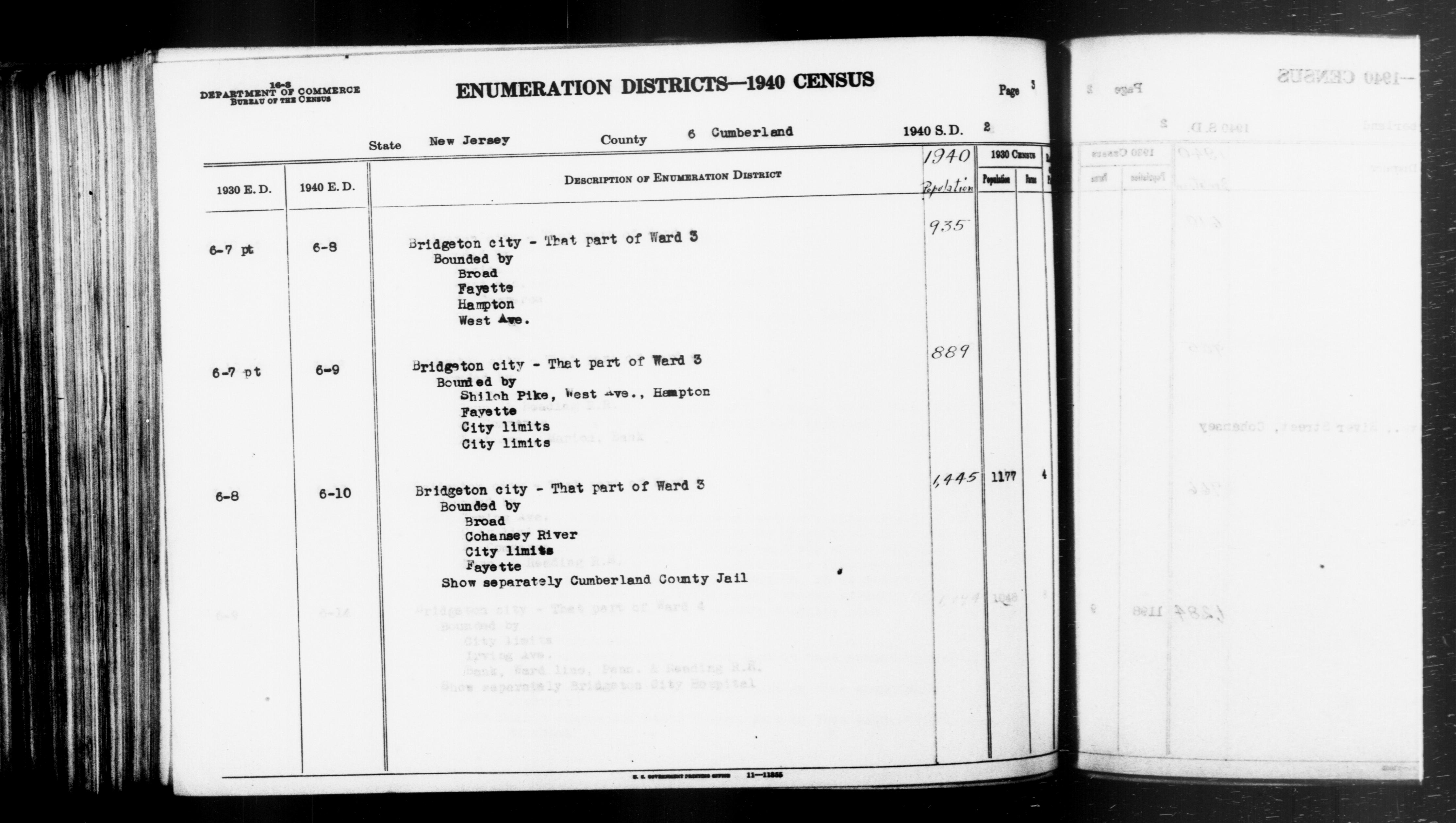 1940 Census Enumeration District Descriptions - New Jersey - Cumberland County - ED 6-8, ED 6-9, ED 6-10