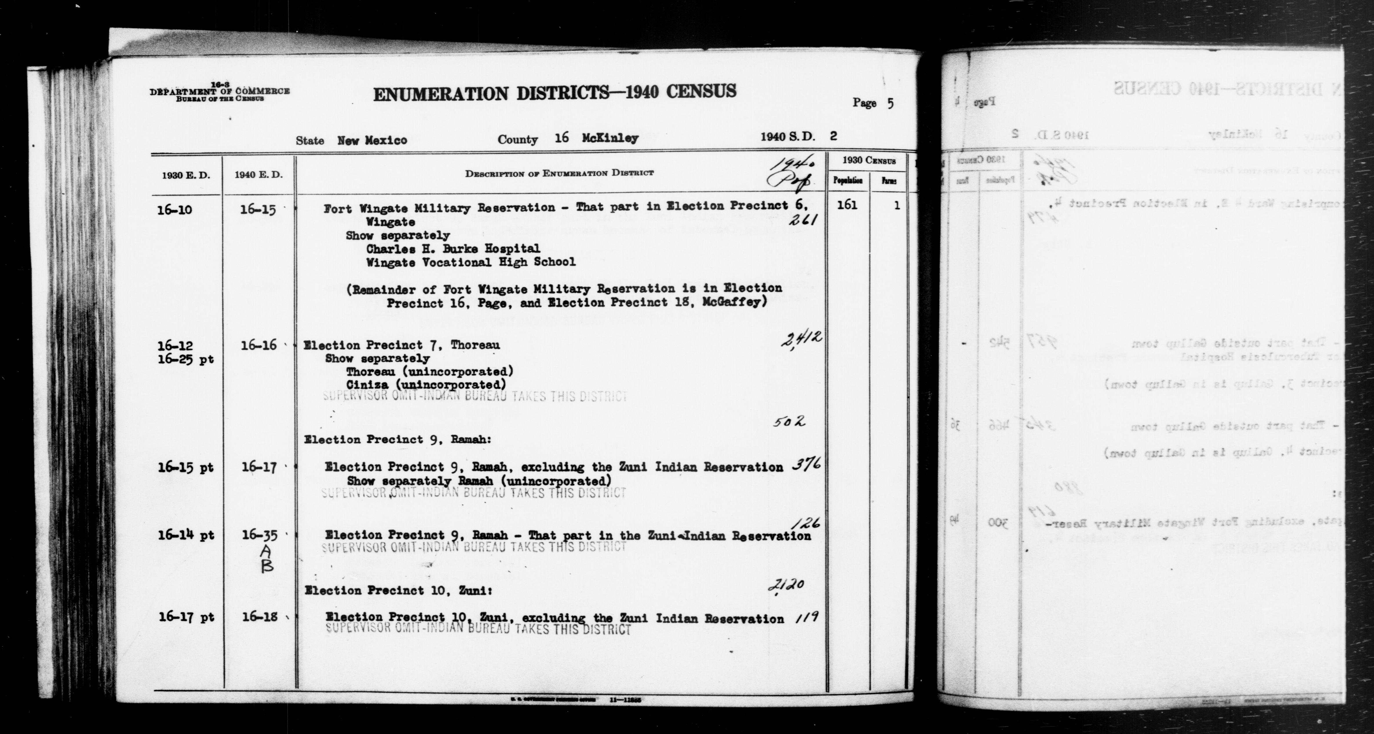 1940 Census Enumeration District Descriptions - New Mexico - McKinley County - ED 16-15, ED 16-16, ED 16-17, ED 16-18, ED 16-35A, ED 16-35B
