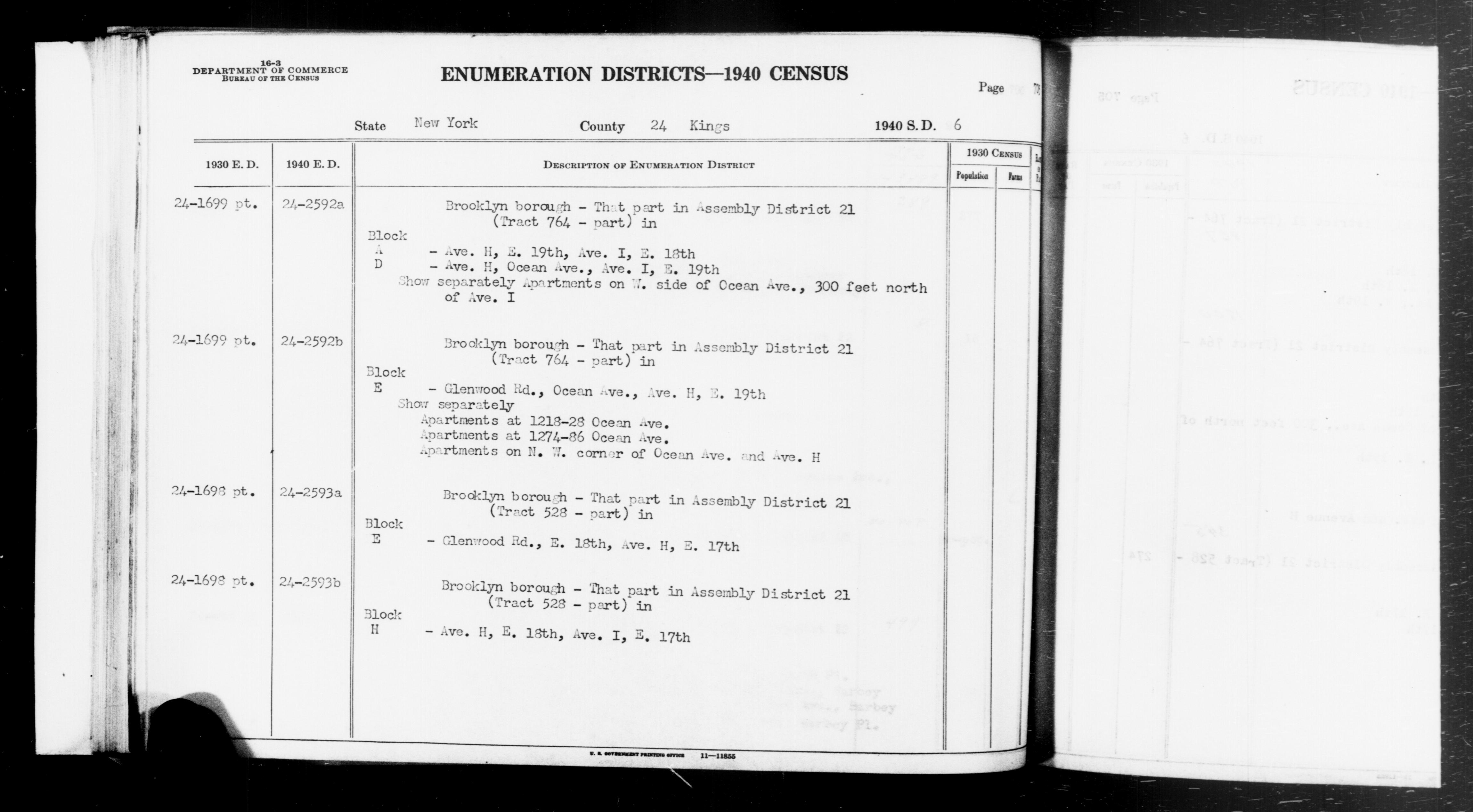 1940 Census Enumeration District Descriptions - New York - Kings County - ED 24-2592A, ED 24-2592B, ED 24-2593A, ED 24-2593B