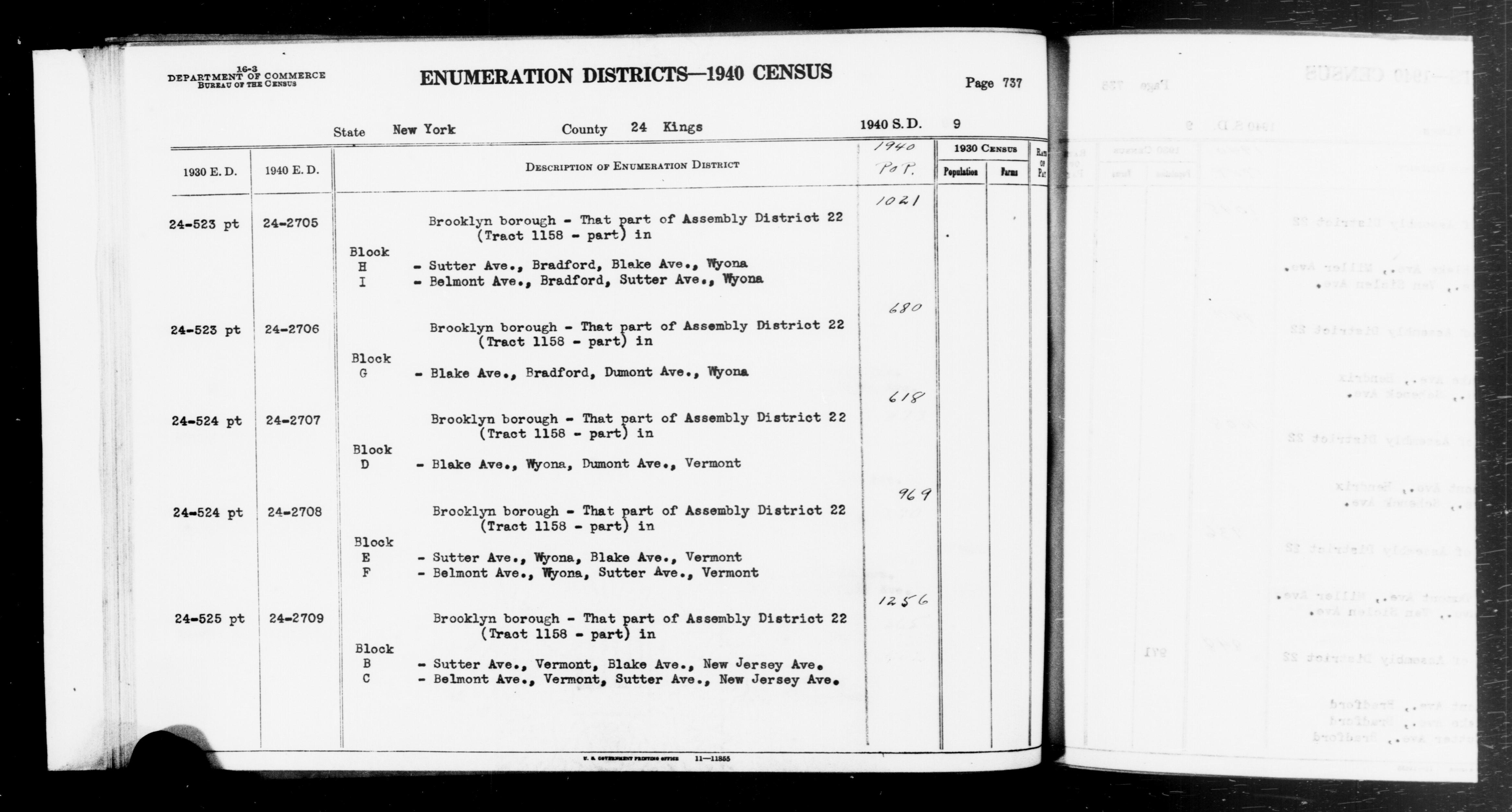 1940 Census Enumeration District Descriptions - New York - Kings County - ED 24-2705, ED 24-2706, ED 24-2707, ED 24-2708, ED 24-2709