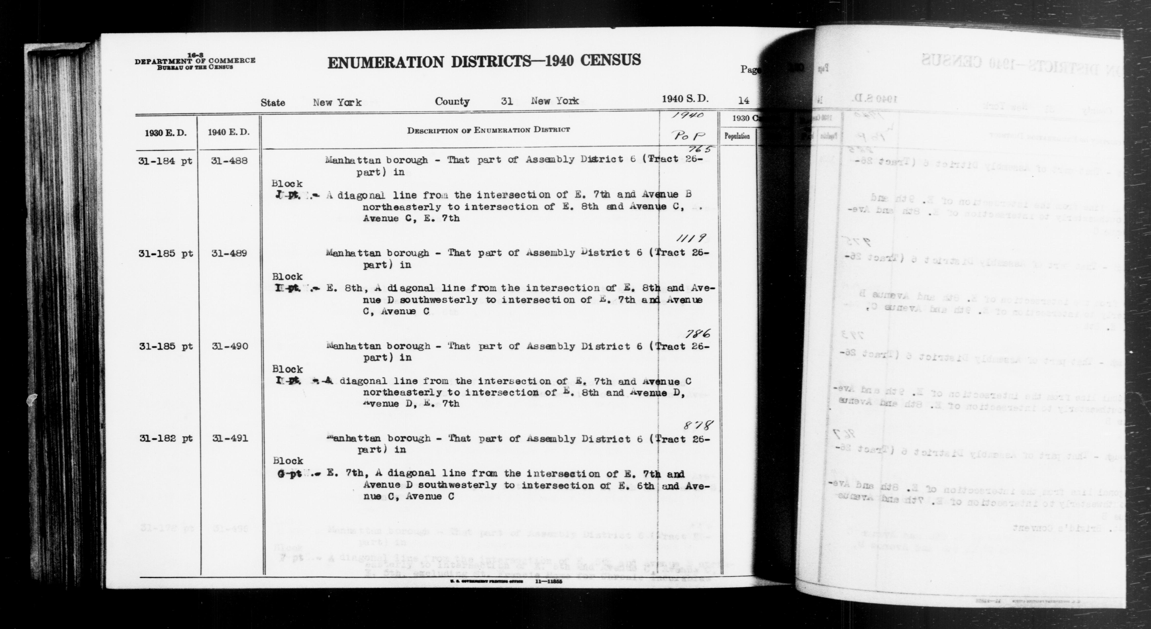 1940 Census Enumeration District Descriptions - New York - New York County - ED 31-488, ED 31-489, ED 31-490, ED 31-491