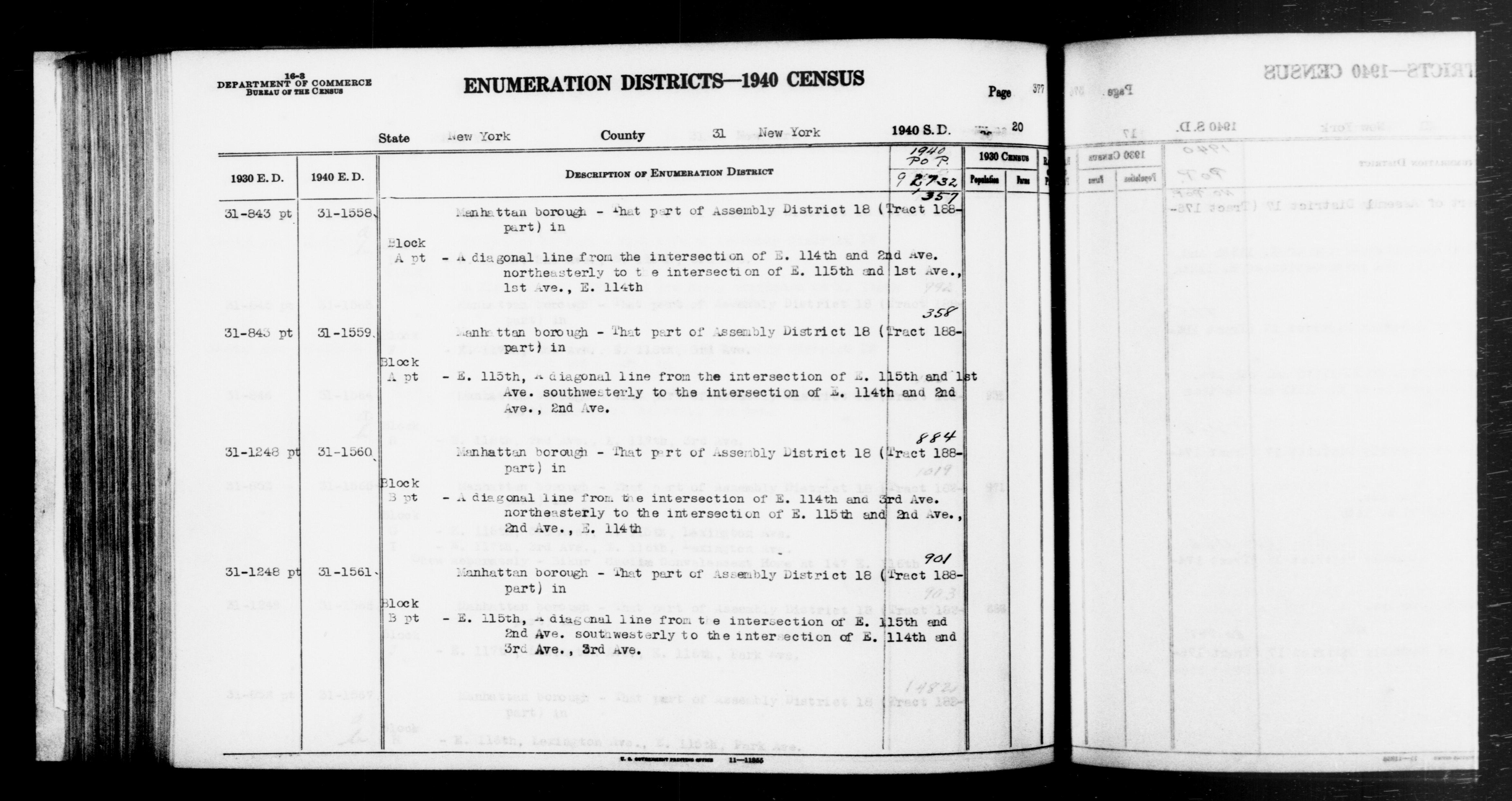 1940 Census Enumeration District Descriptions - New York - New York County - ED 31-1558, ED 31-1559, ED 31-1560, ED 31-1561
