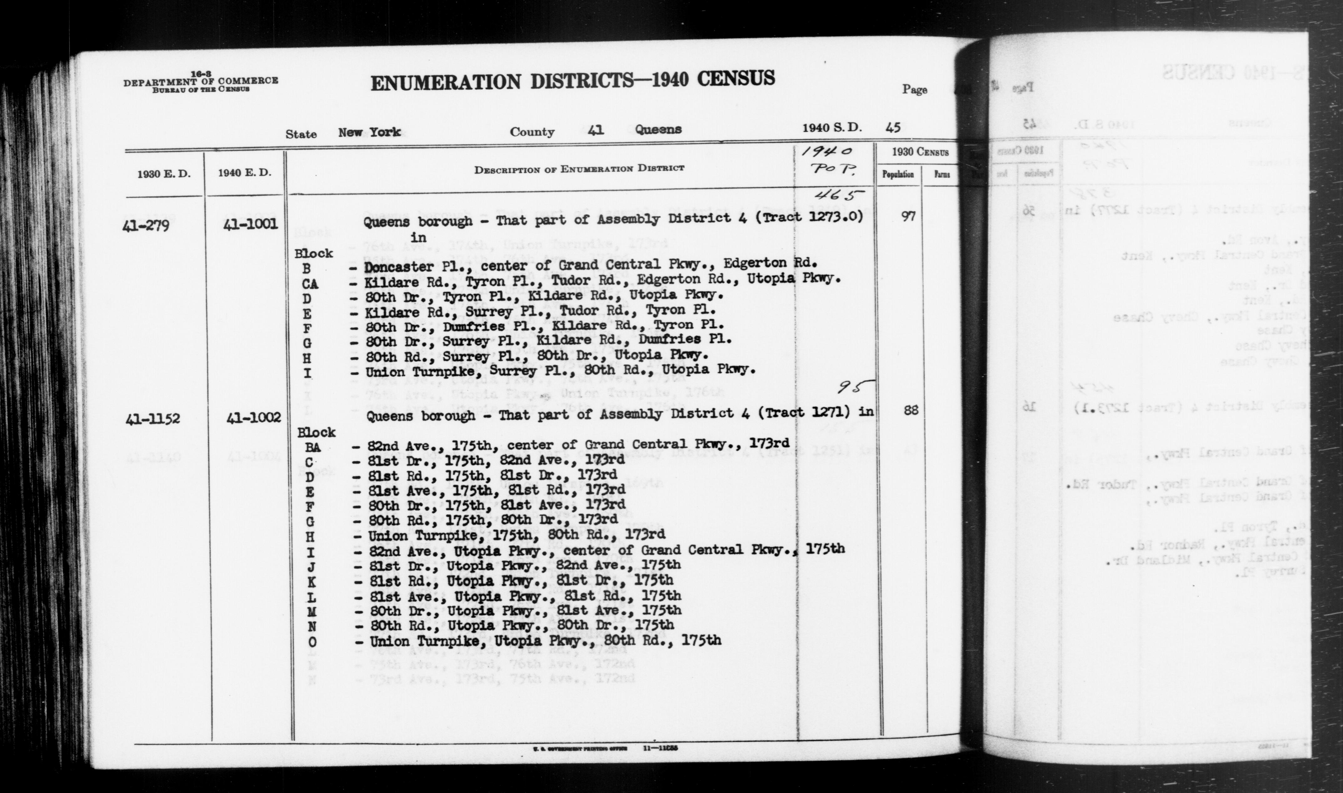 1940 Census Enumeration District Descriptions - New York - Queens County - ED 41-1001, ED 41-1002