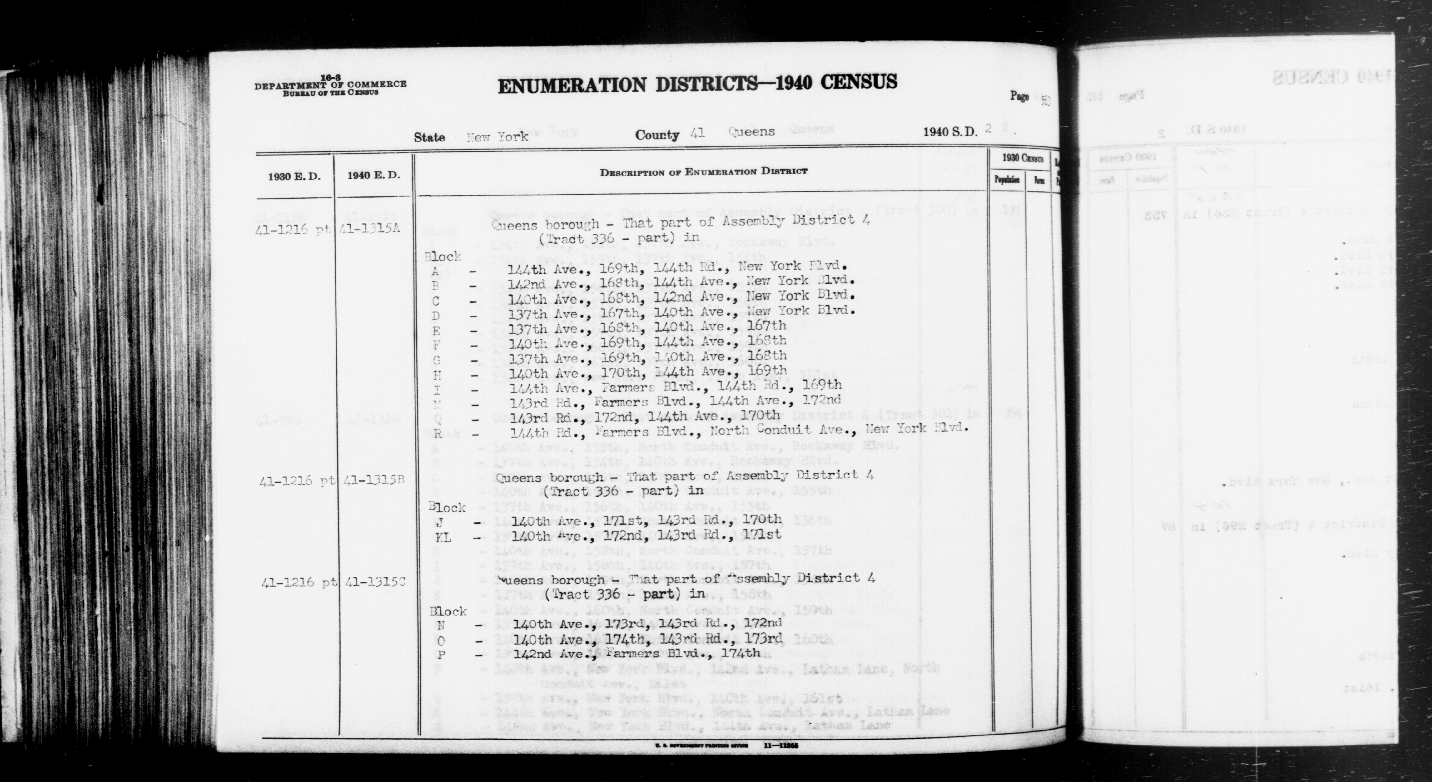 1940 Census Enumeration District Descriptions - New York - Queens County - ED 41-1315A, ED 41-1315B, ED 41-1315C