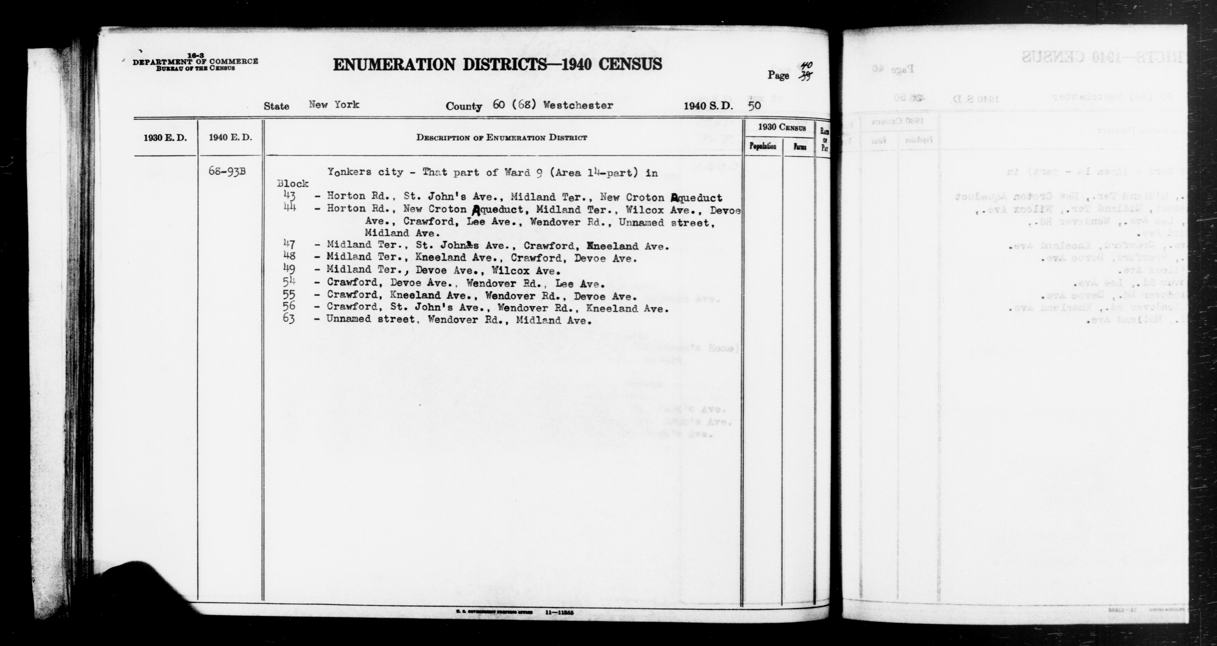 1940 Census Enumeration District Descriptions - New York - Westchester County - ED 68-93B