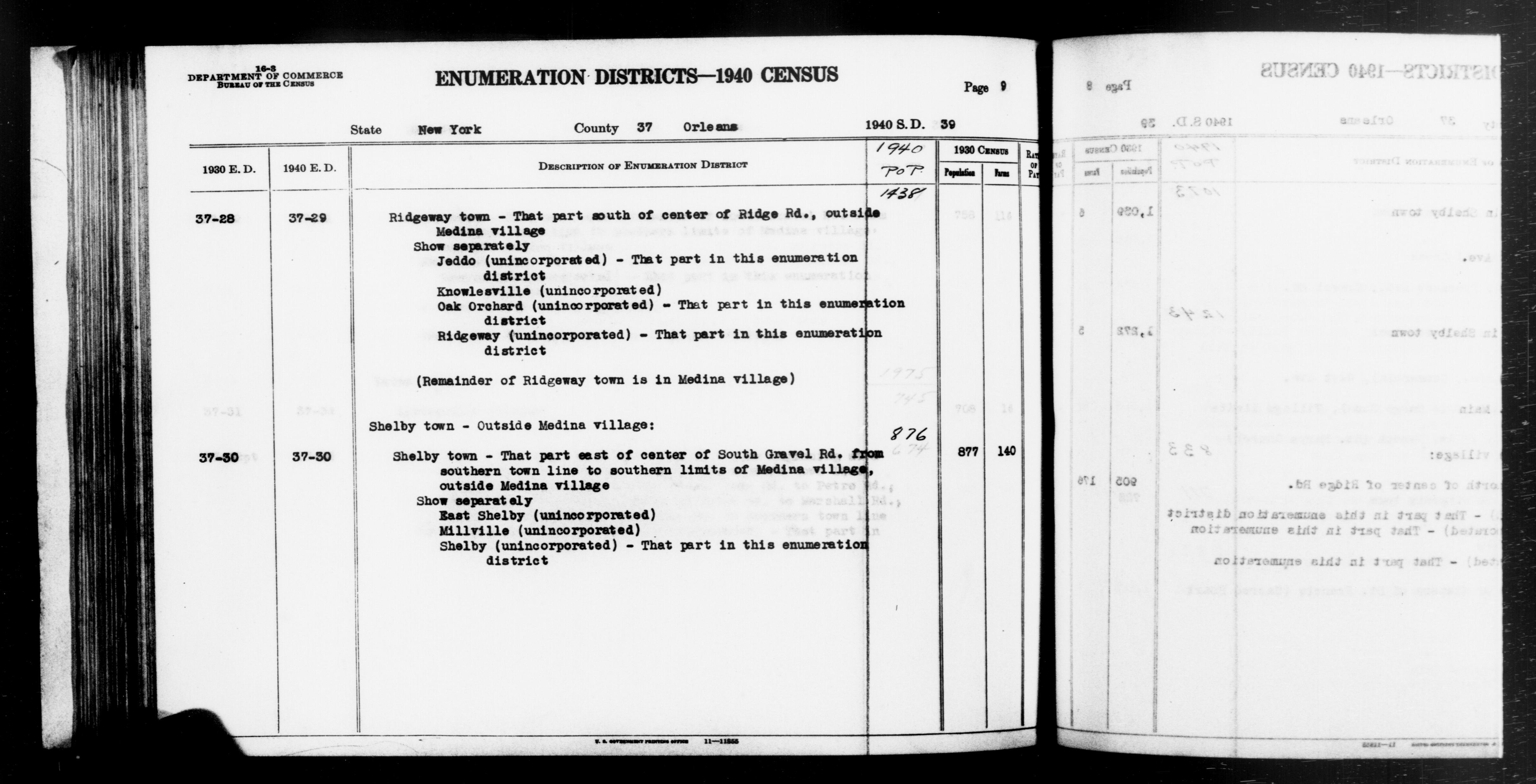 1940 Census Enumeration District Descriptions - New York - Orleans County - ED 37-29, ED 37-30