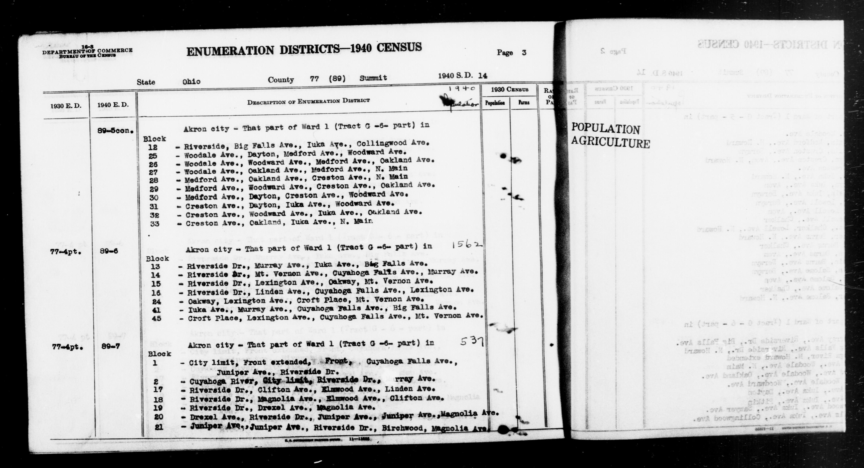 1940 Census Enumeration District Descriptions - Ohio - Summit County - ED 89-5A, ED 89-5B, ED 89-6, ED 89-7