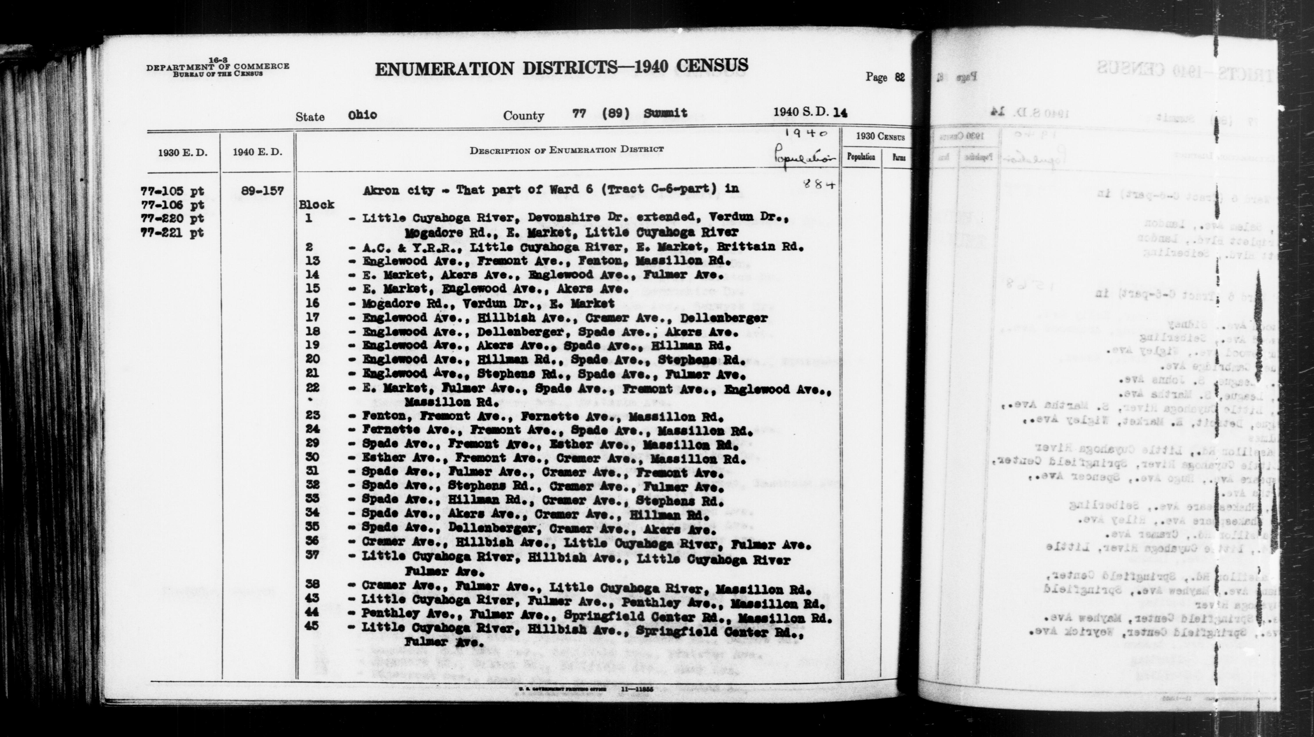 1940 Census Enumeration District Descriptions - Ohio - Summit County - ED 89-157