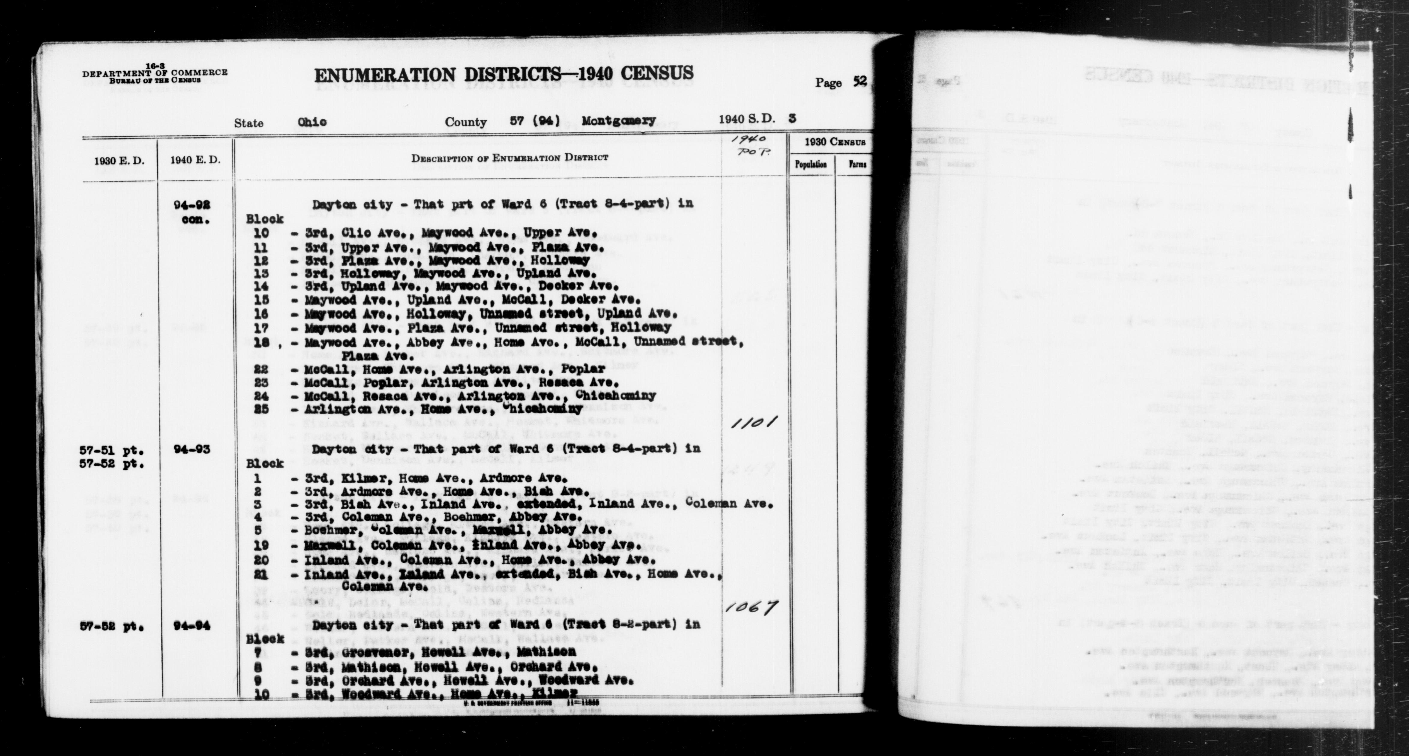 1940 Census Enumeration District Descriptions - Ohio - Montgomery County - ED 94-92, ED 94-93, ED 94-94